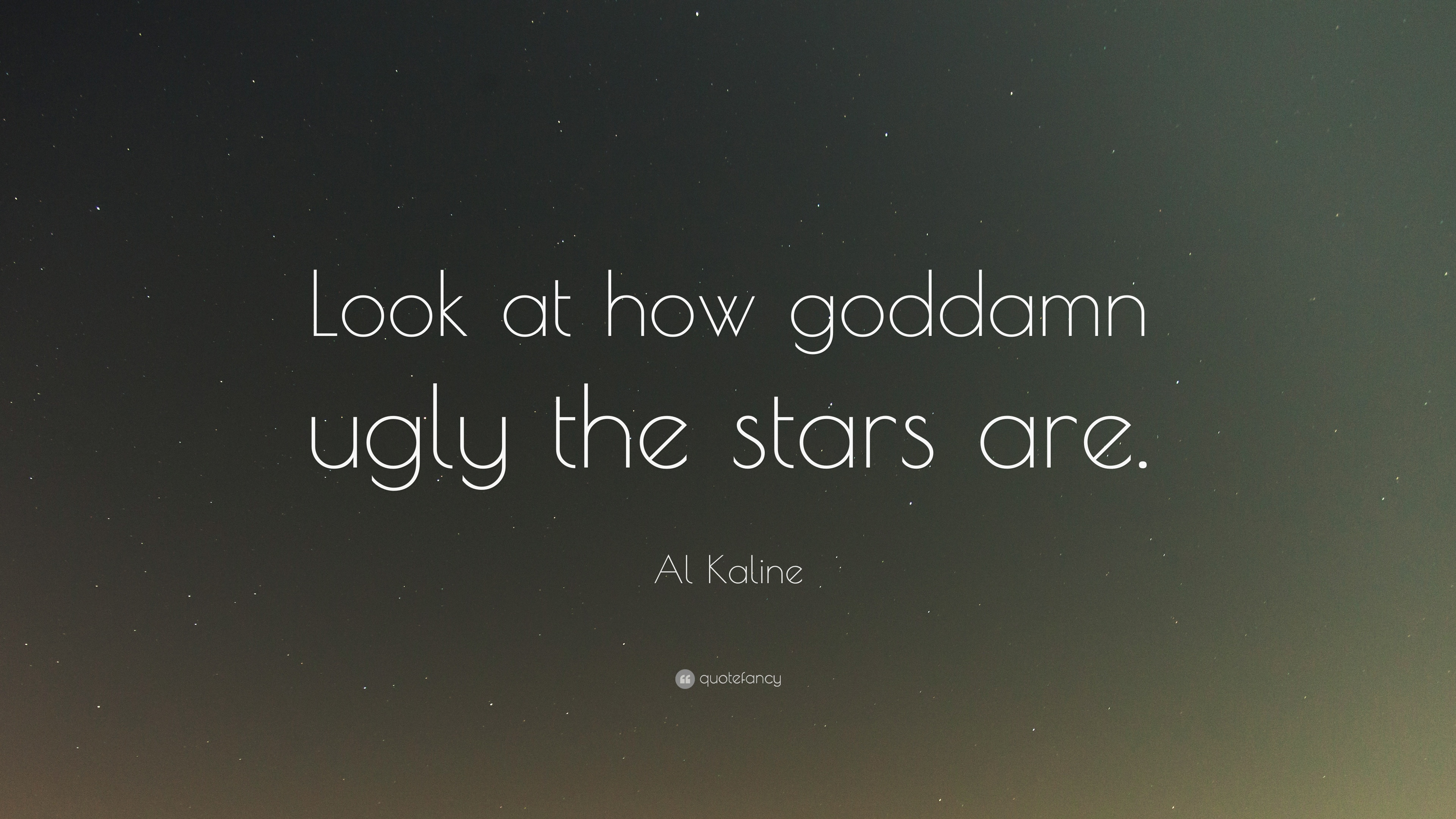 """Al Kaline Quote: """"Look At How Goddamn Ugly The Stars Are"""