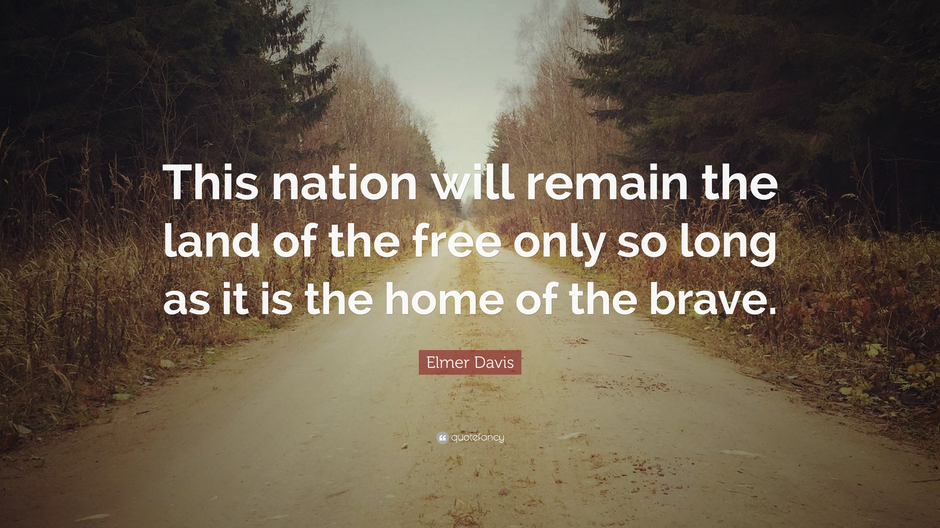 Elmer Davis Quote This Nation Will Remain The Land Of The Free
