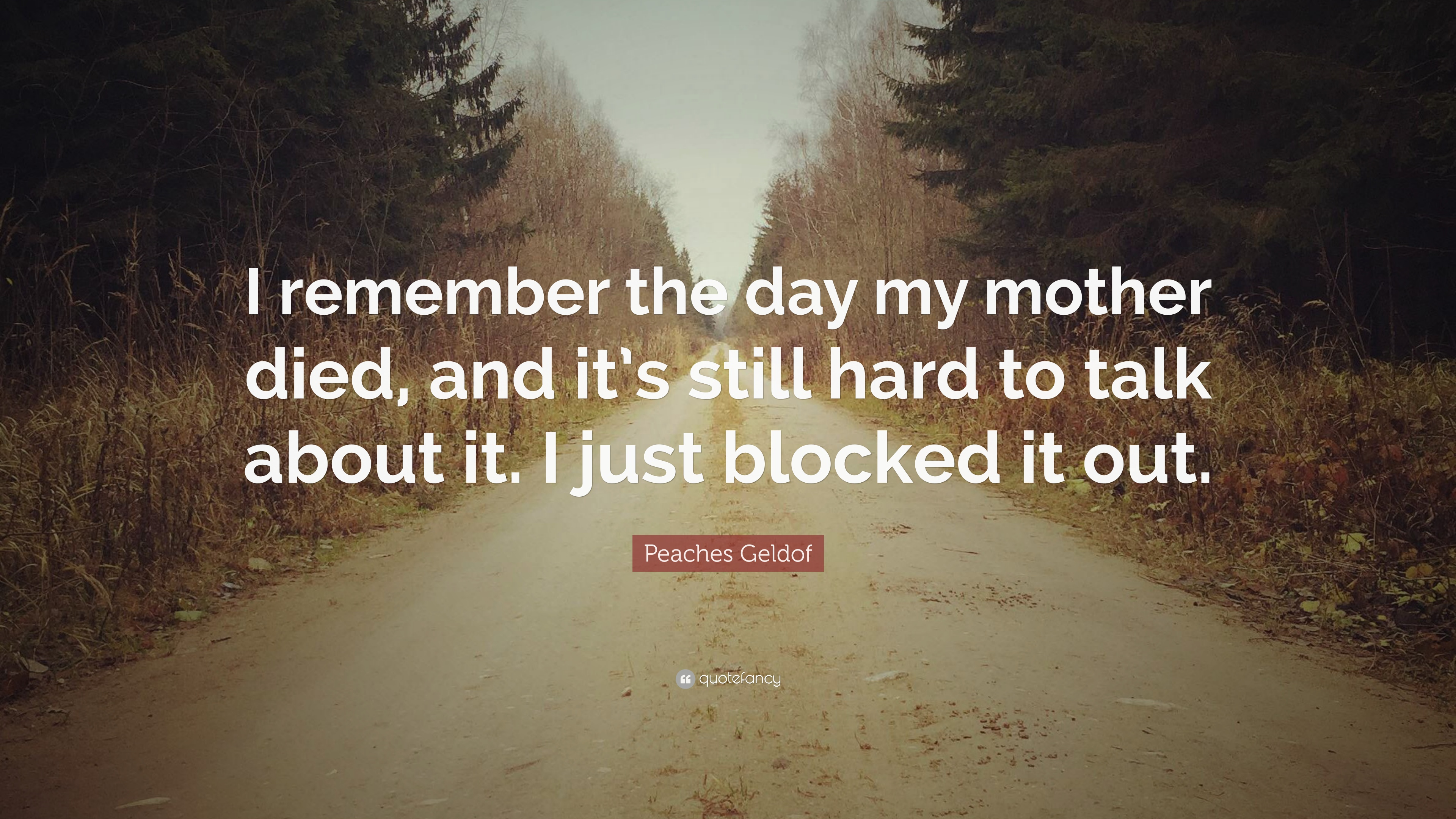 """Peaches Geldof Quote: """"I remember the day my mother died, and it's"""