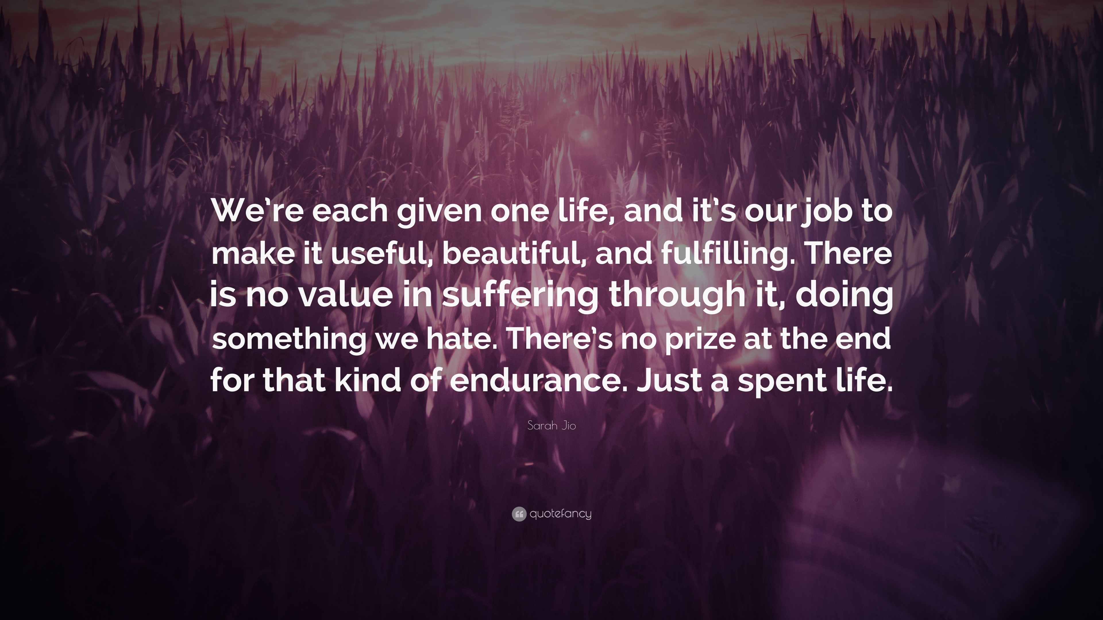 Sarah Jio Quote We Re Each Given One Life And It S Our Job To