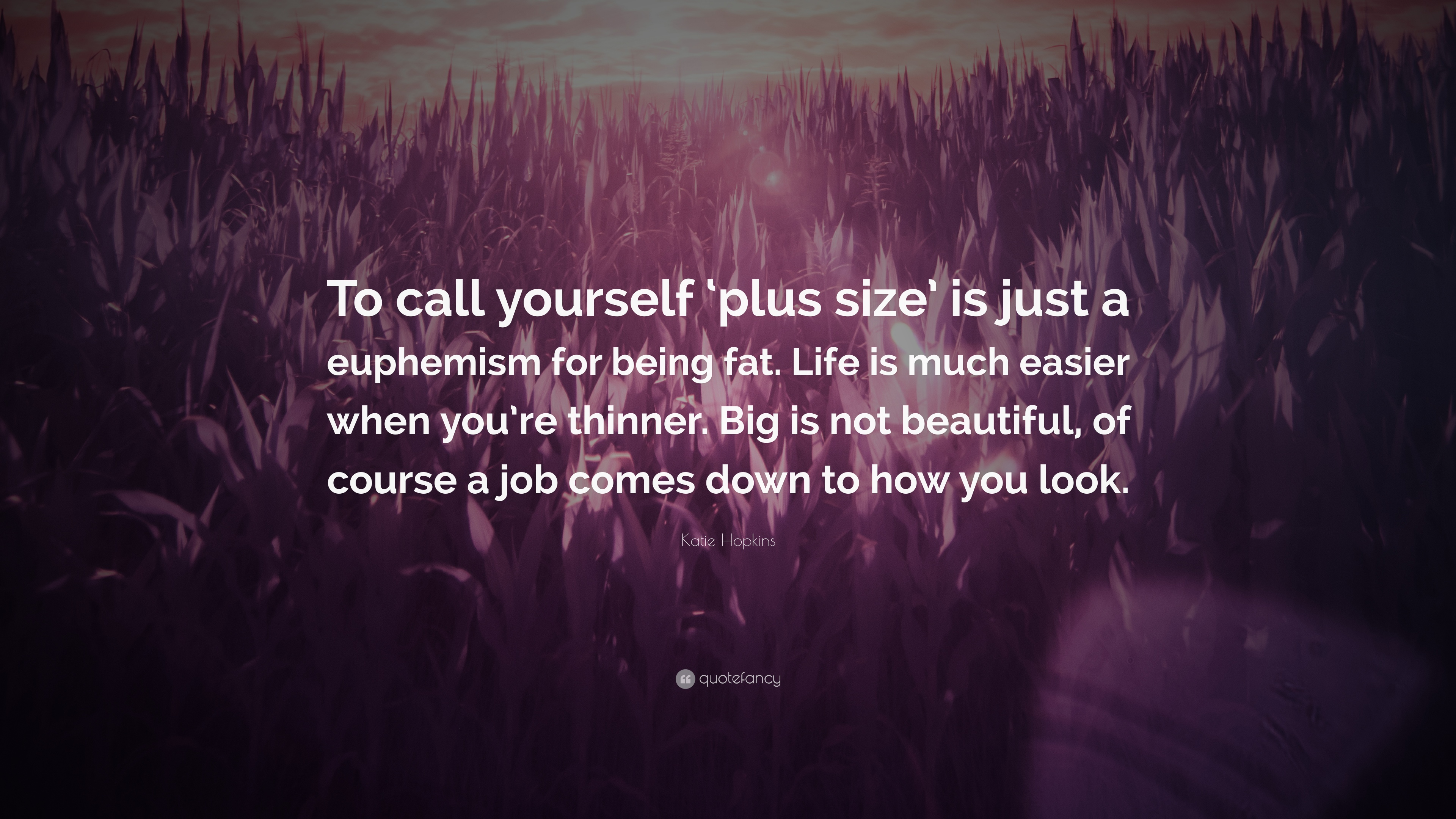 """Katie Hopkins Quote: """"To call yourself \'plus size\' is just a ..."""