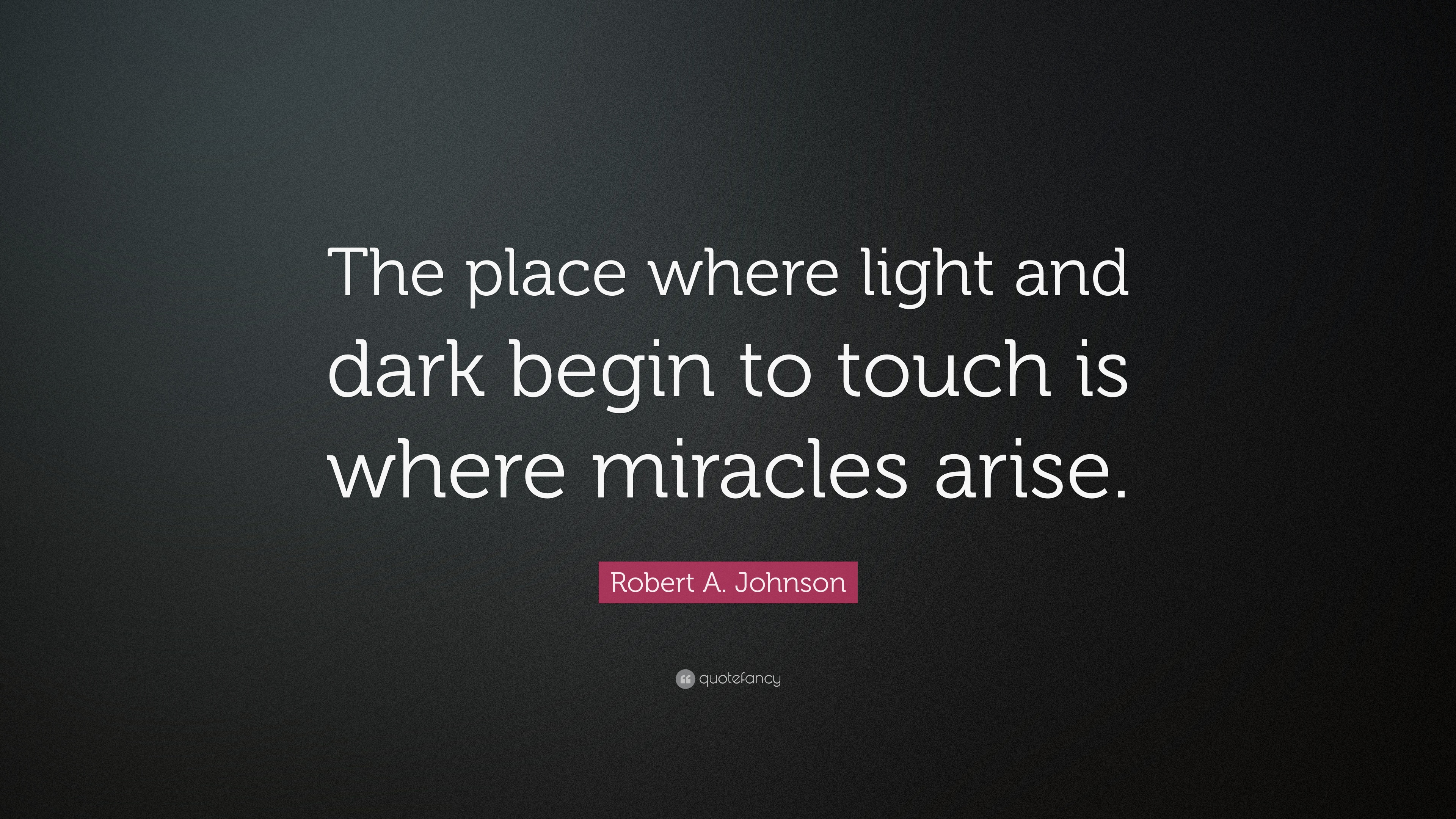 "Robert A. Johnson Quote: ""The Place Where Light And Dark"