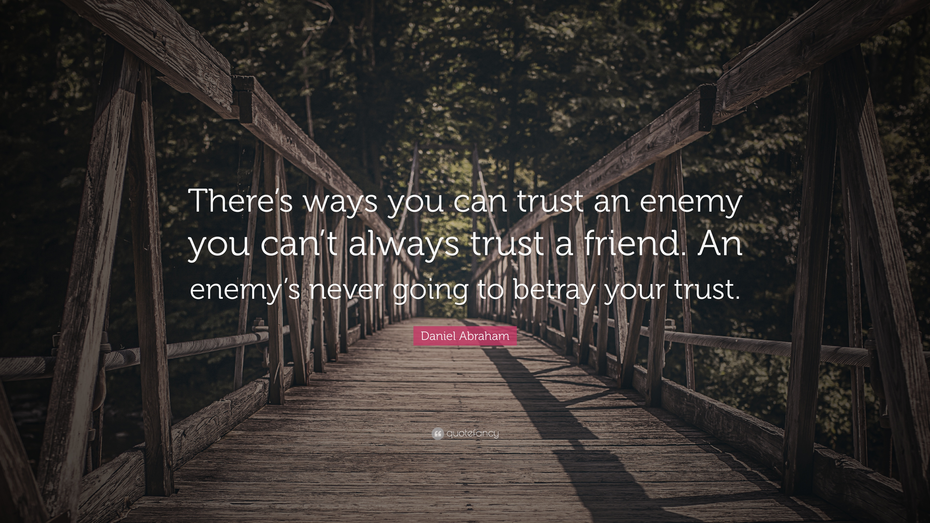 Daniel Abraham Quote Theres Ways You Can Trust An Enemy You Cant