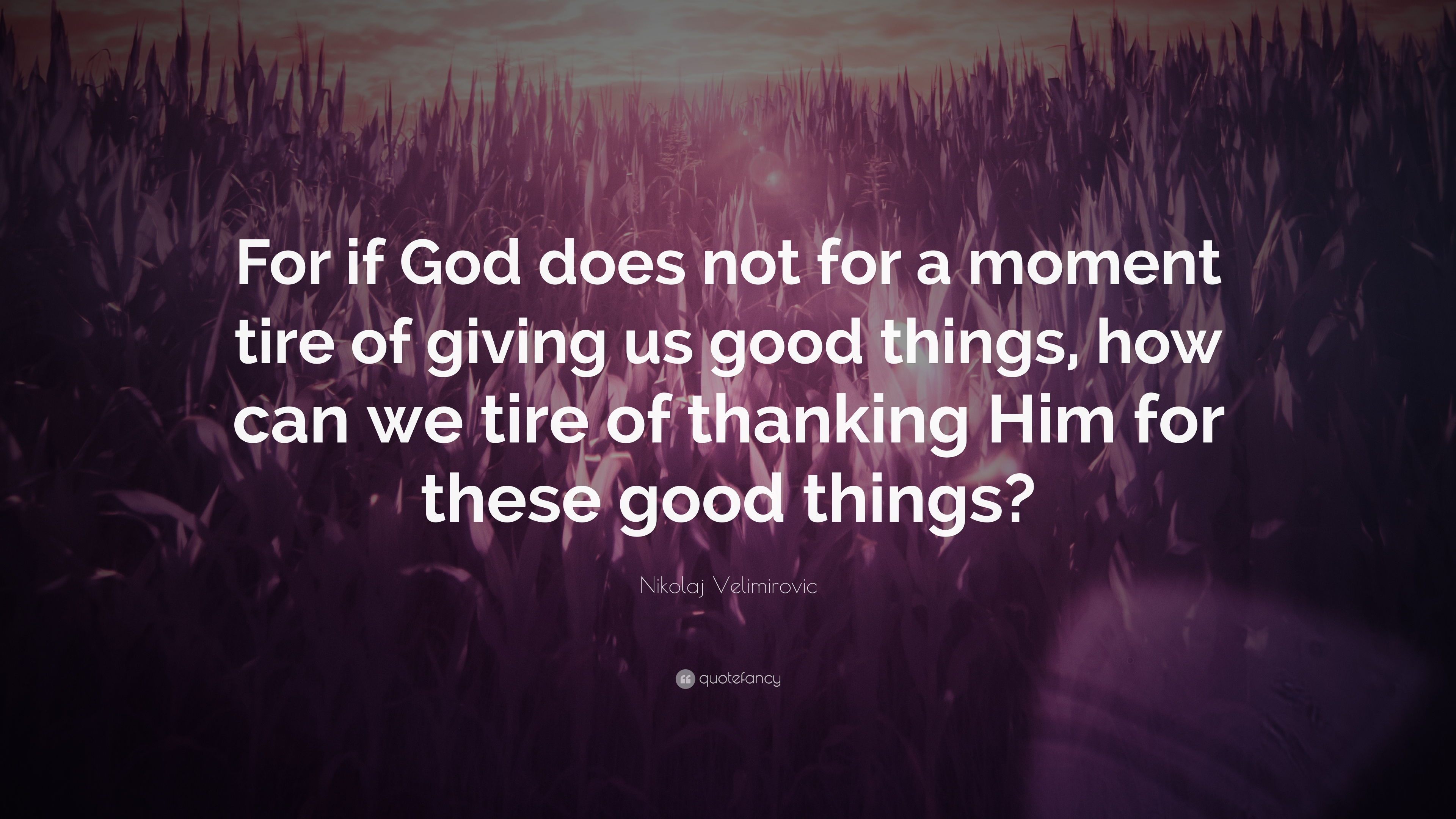 """Thanking God Quotes Nikolaj Velimirovic Quote """"For If God Does Not For A Moment Tire"""