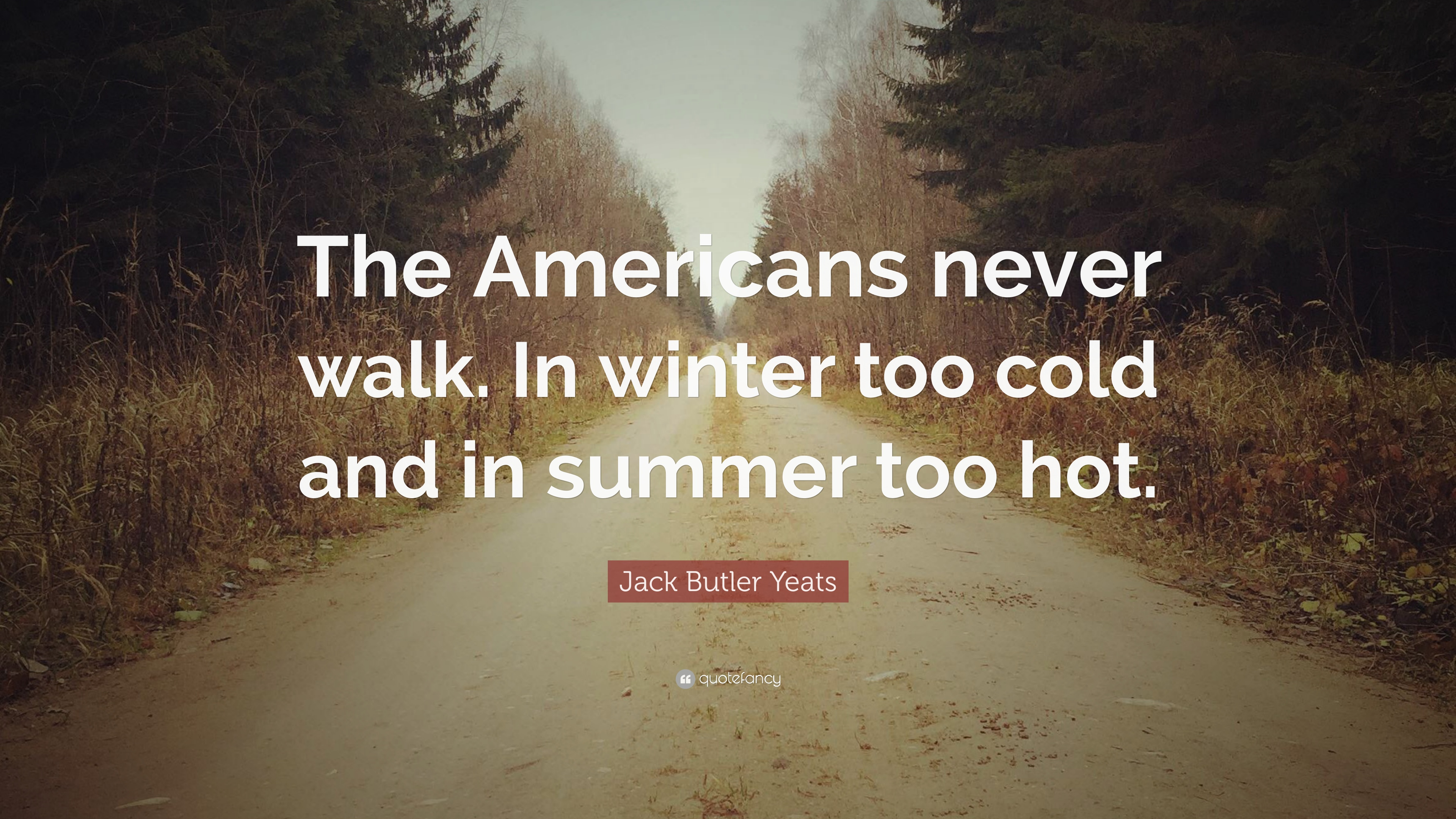 Jack Butler Yeats Quote The Americans Never Walk In Winter Too