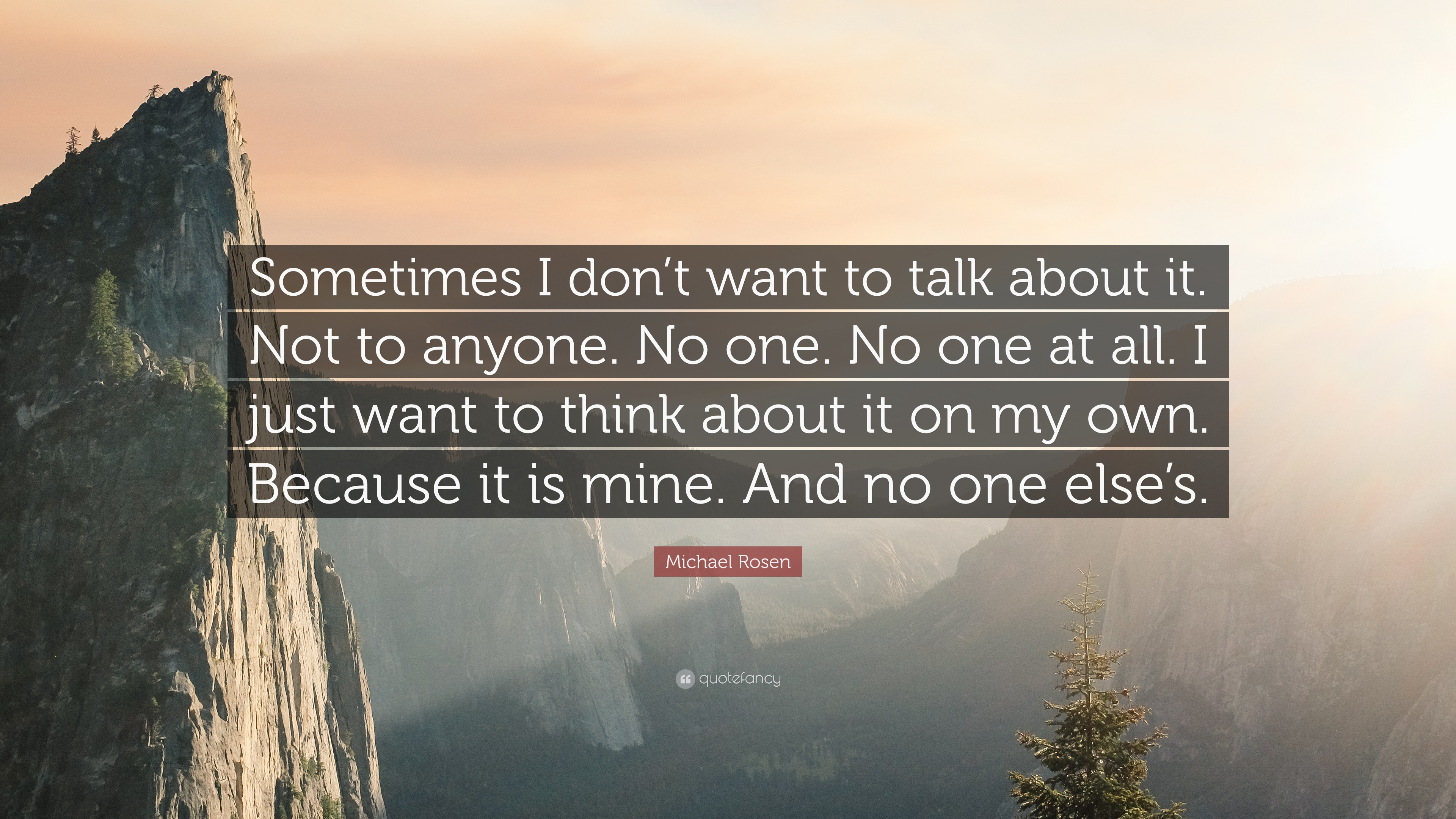 Michael Rosen Quote Sometimes I Dont Want To Talk About It Not