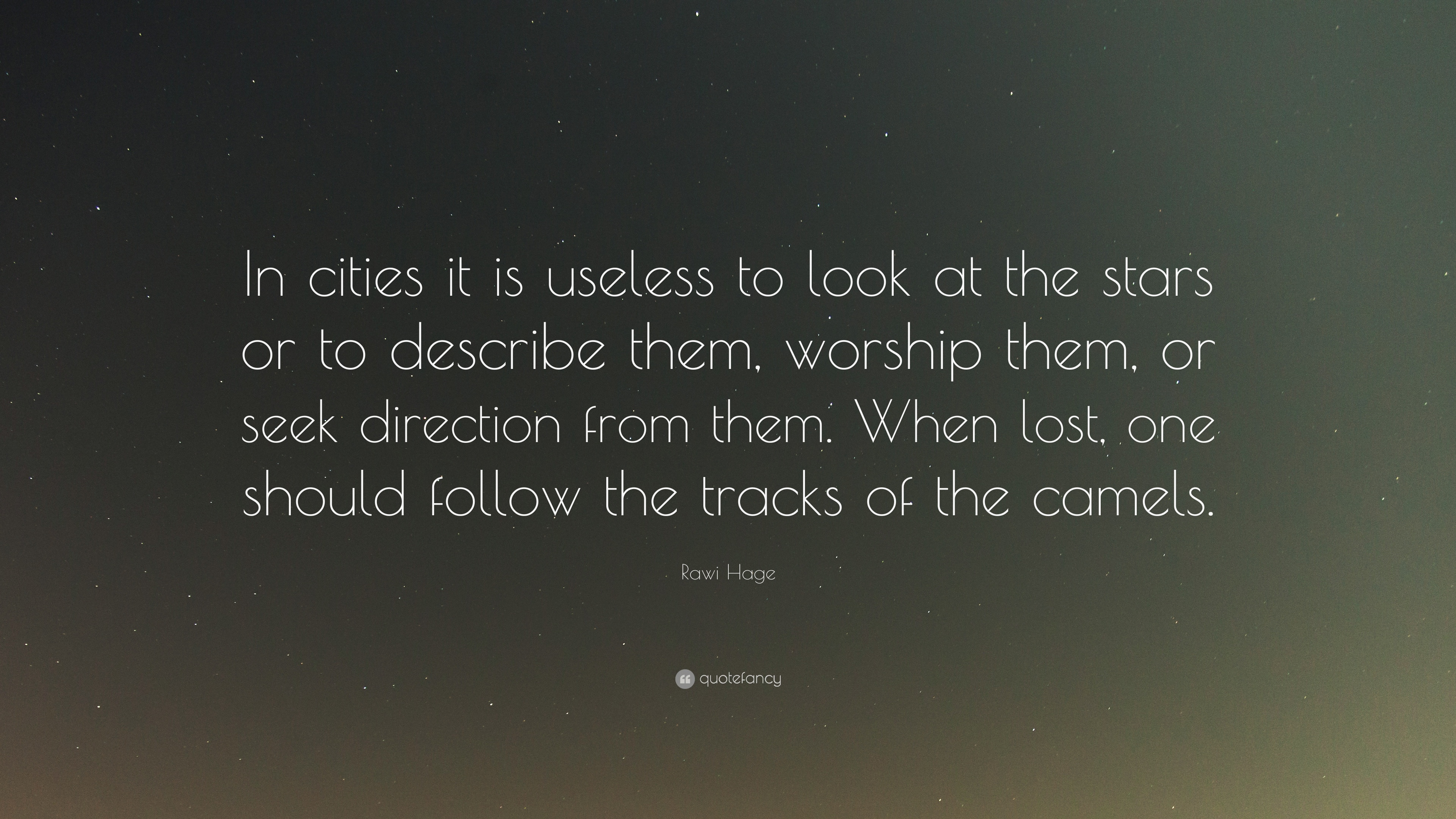 Rawi Hage Quote In Cities It Is Useless To Look At The Stars Or To