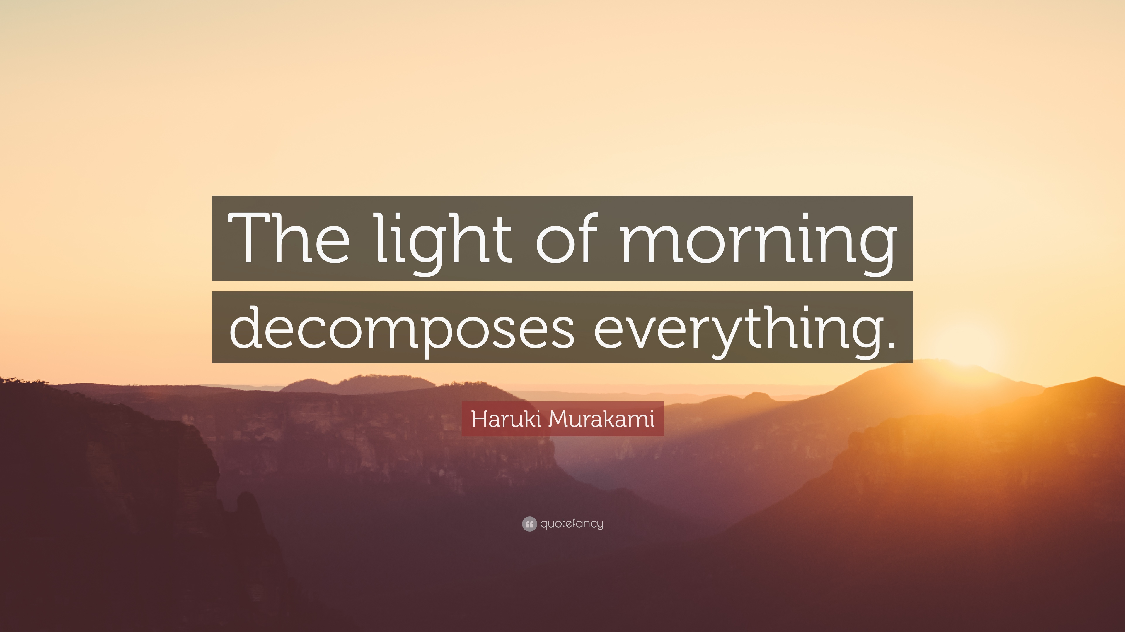 Haruki Murakami Quote The Light Of Morning Decomposes Everything