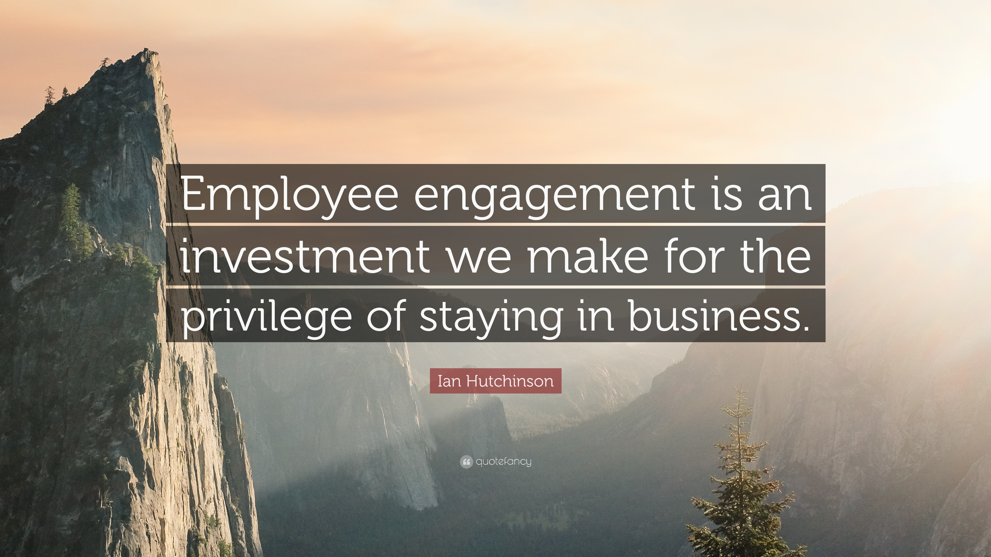 """ian hutchinson quote """"employee engagement is an investment we"""