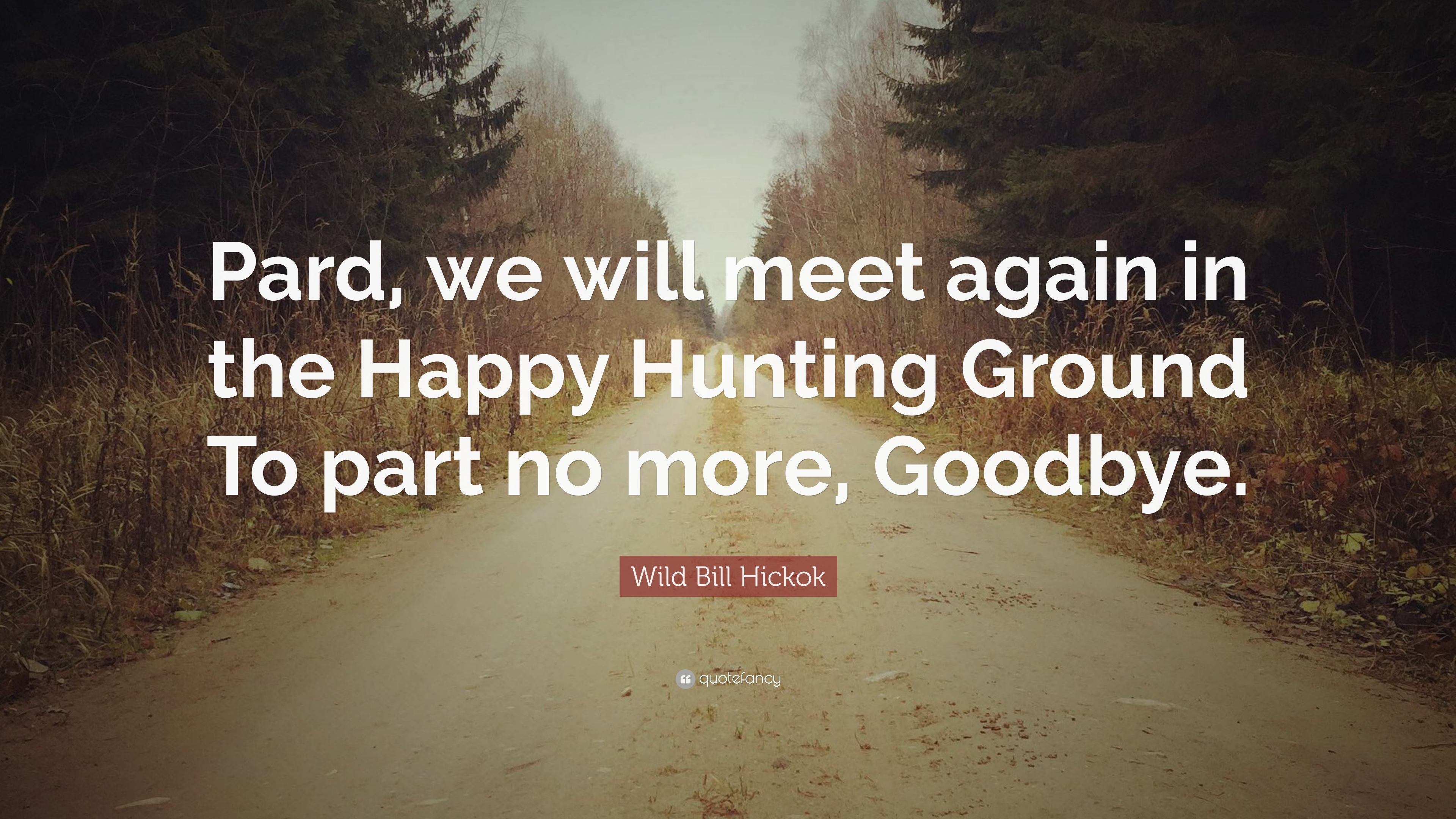 Wild Bill Hickok Quote Pard We Will Meet Again In The Happy
