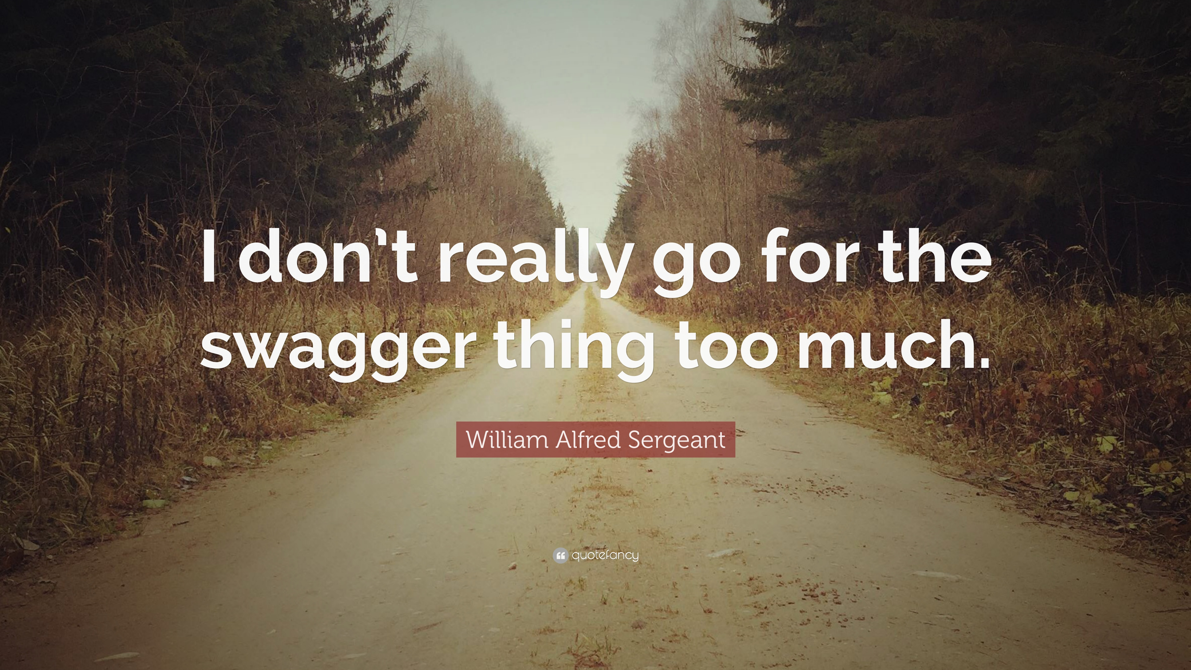 William alfred sergeant quotes 2 wallpapers quotefancy william alfred sergeant quote i dont really go for the swagger thing altavistaventures Image collections