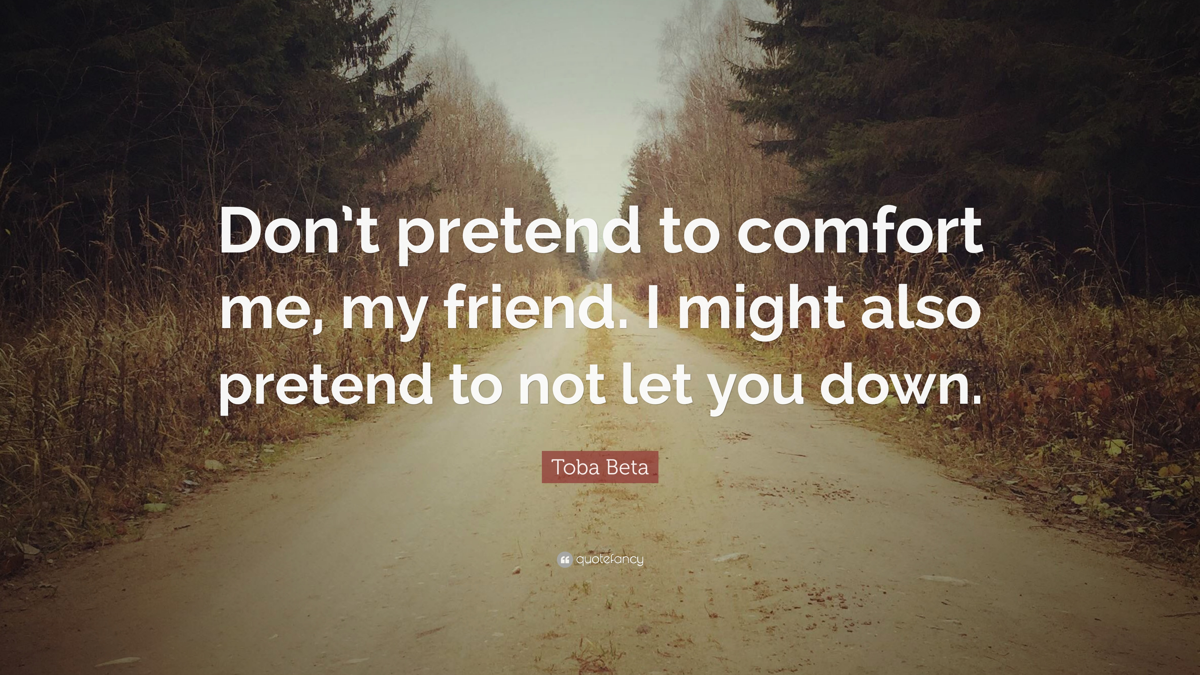 Toba Beta Quote Dont Pretend To Comfort Me My Friend I Might