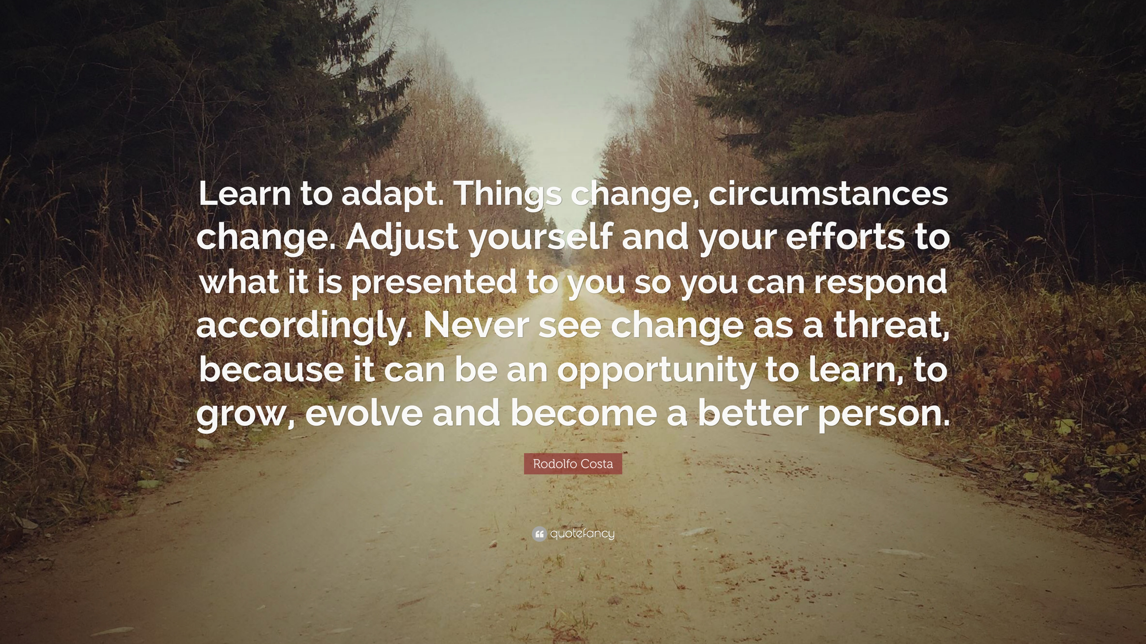 "Rodolfo Costa Quote: ""Learn to adapt. Things change, circumstances ..."