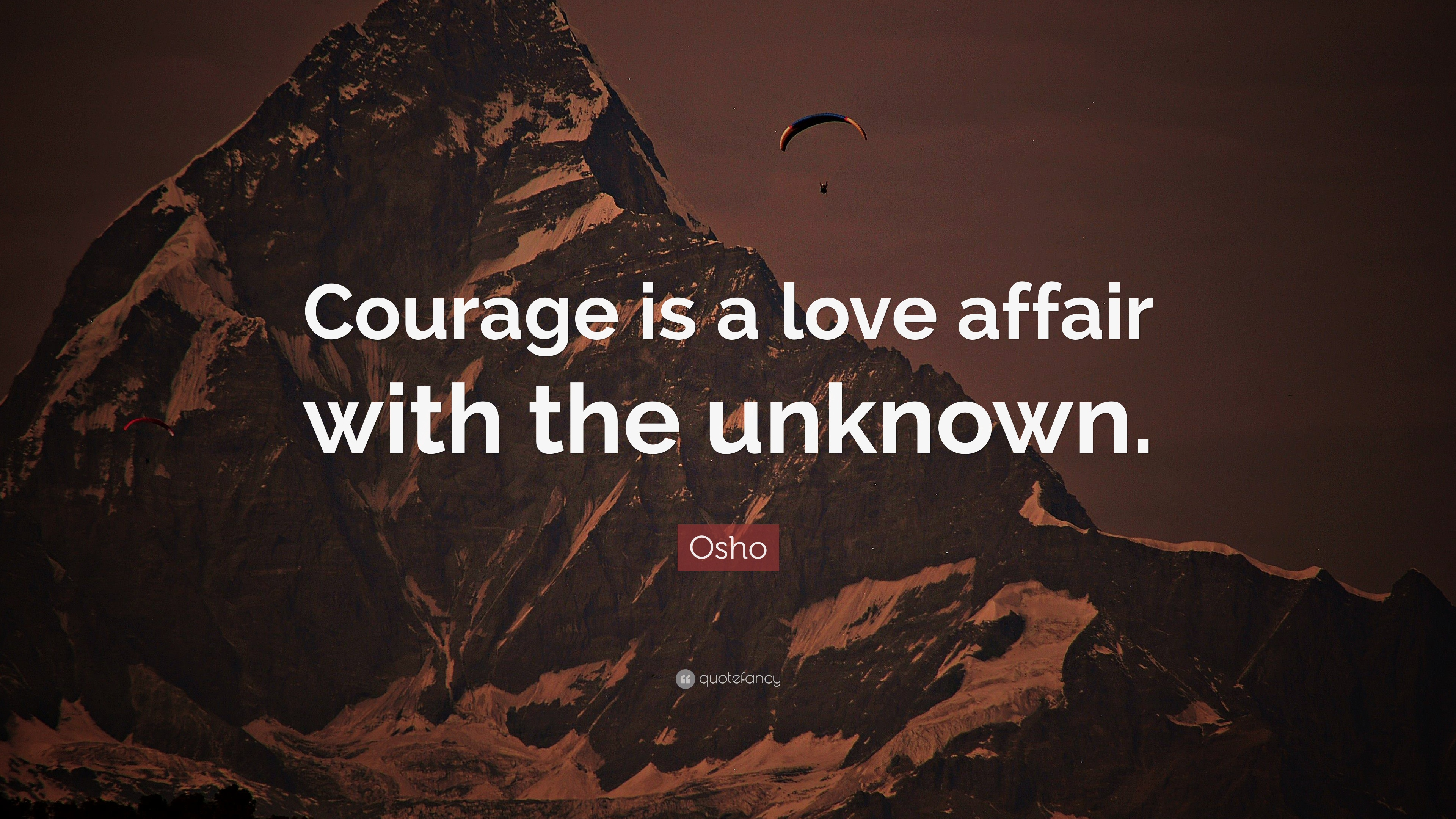 Osho quote courage is a love affair with the unknown for Love the love