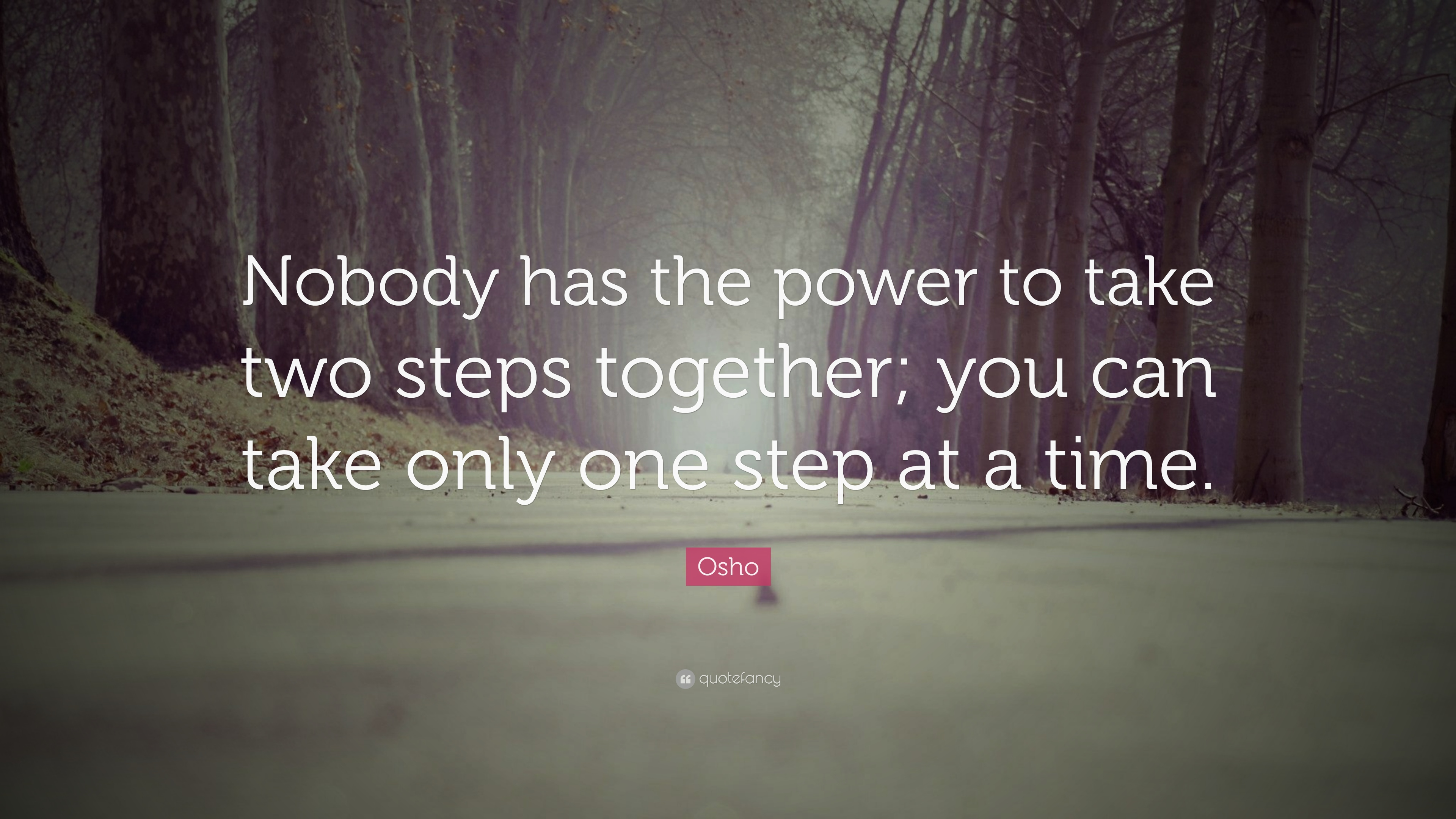 Osho Quote Nobody Has The Power To Take Two Steps Together You