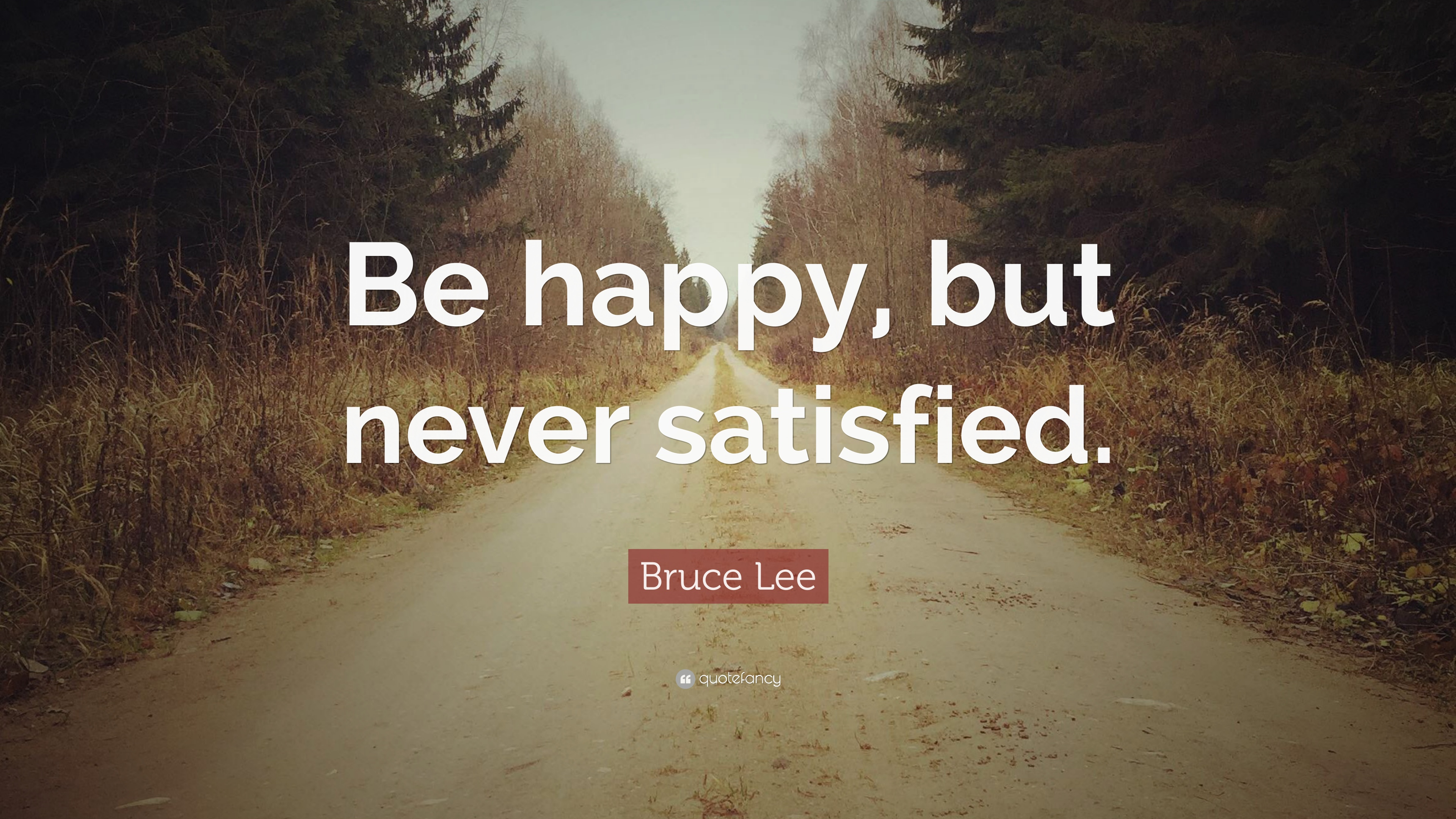 Bruce Lee Quote: Be happy, but never satisfied.