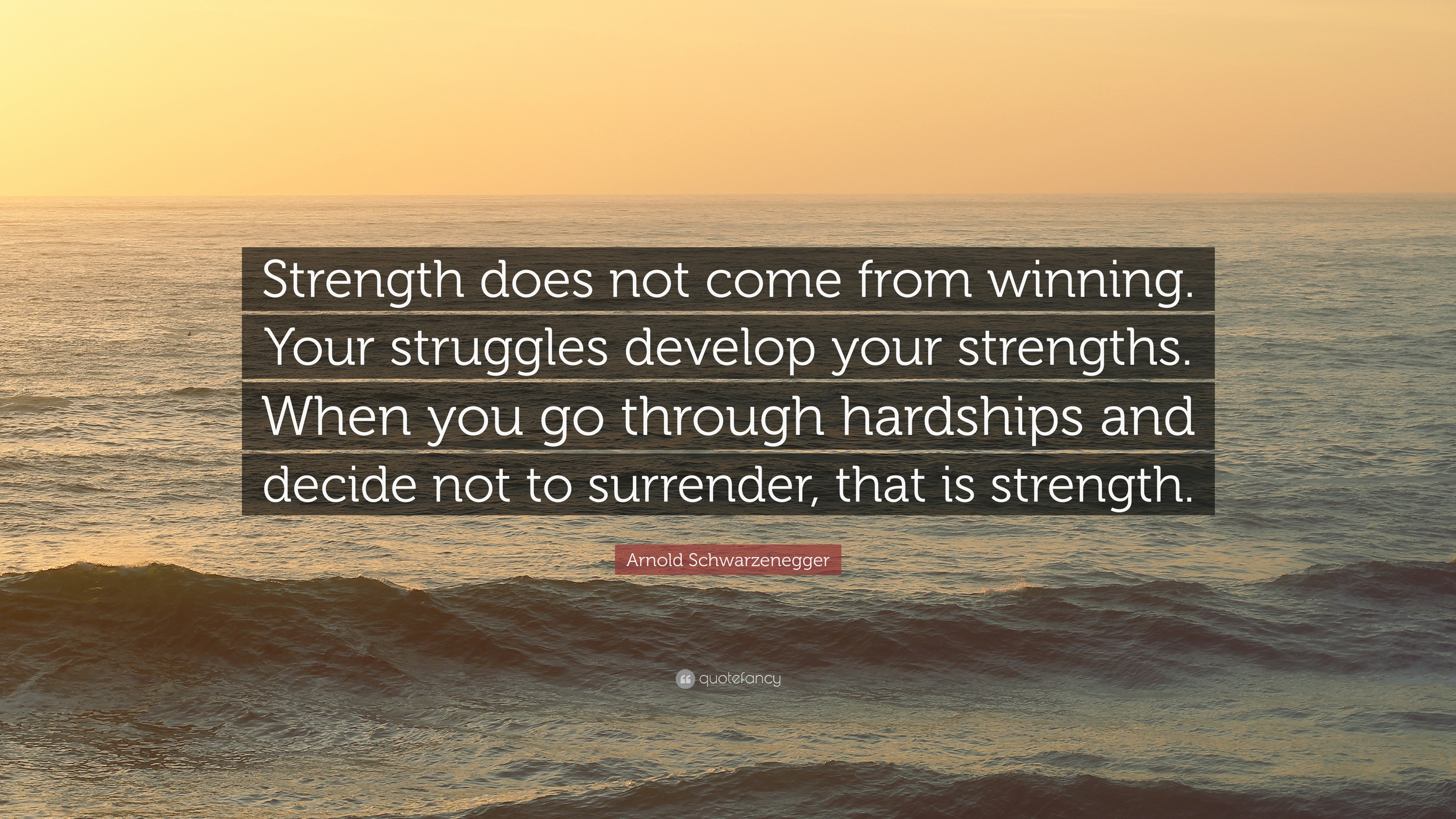 Arnold schwarzenegger quote strength does not come from winning your struggles develop your
