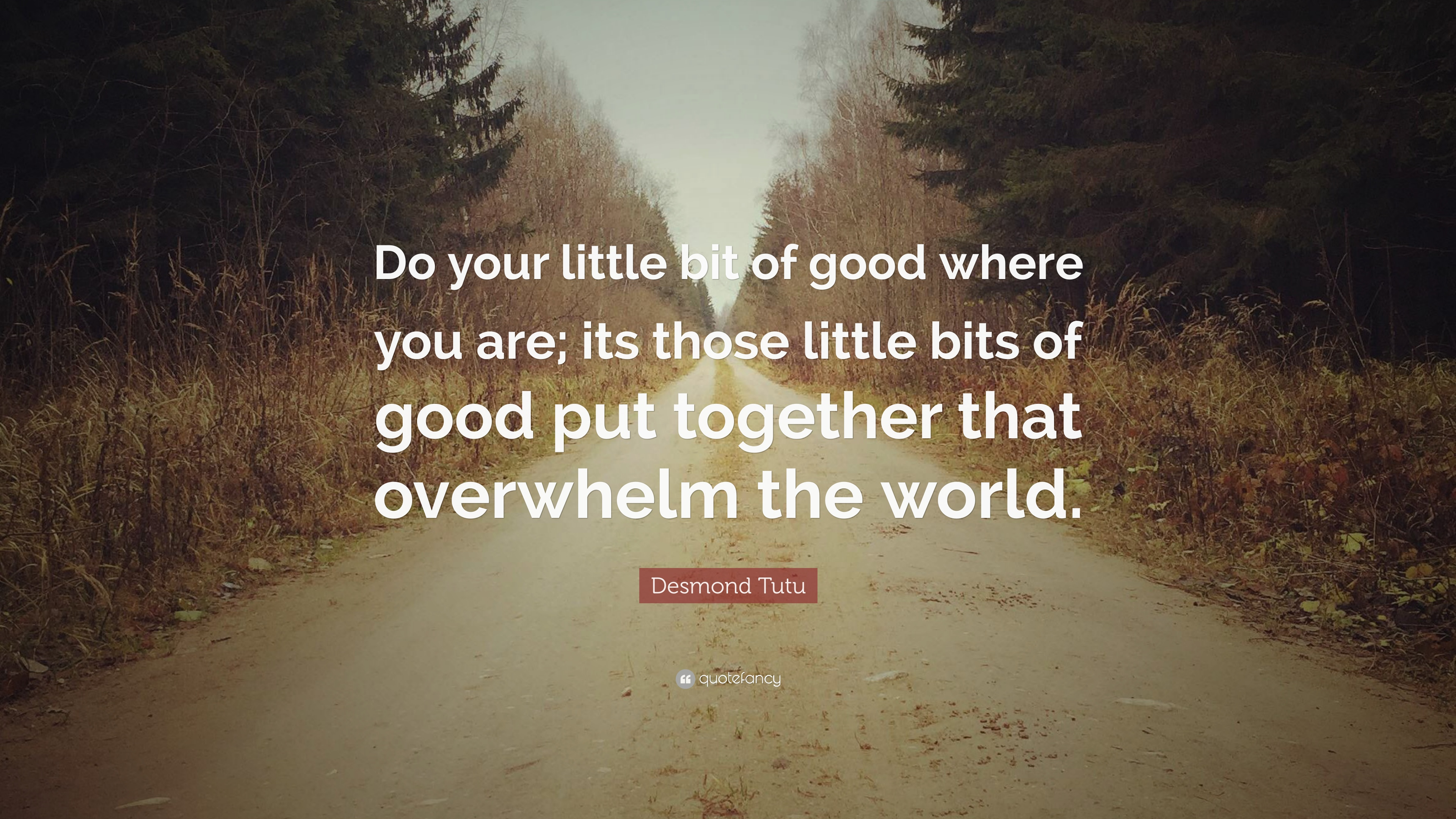 """Those Little Paws Quotes: Desmond Tutu Quote: """"Do Your Little Bit Of Good Where You"""