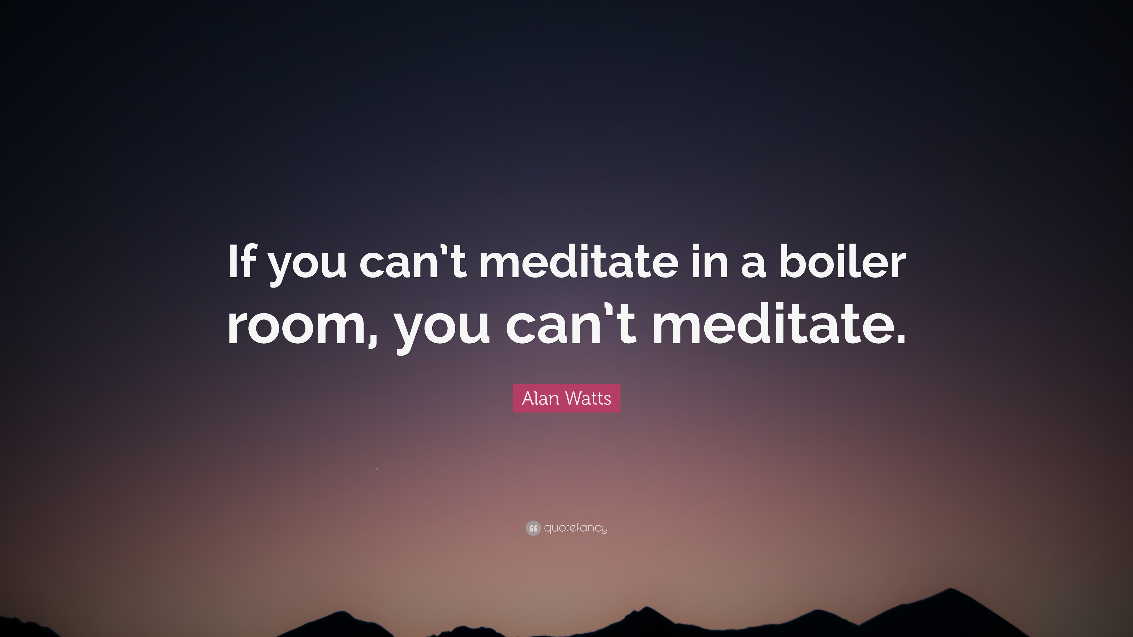 """Boiler Room Quotes Alan Watts Quote """"If You Can't Meditate In A Boiler Room You Can"""