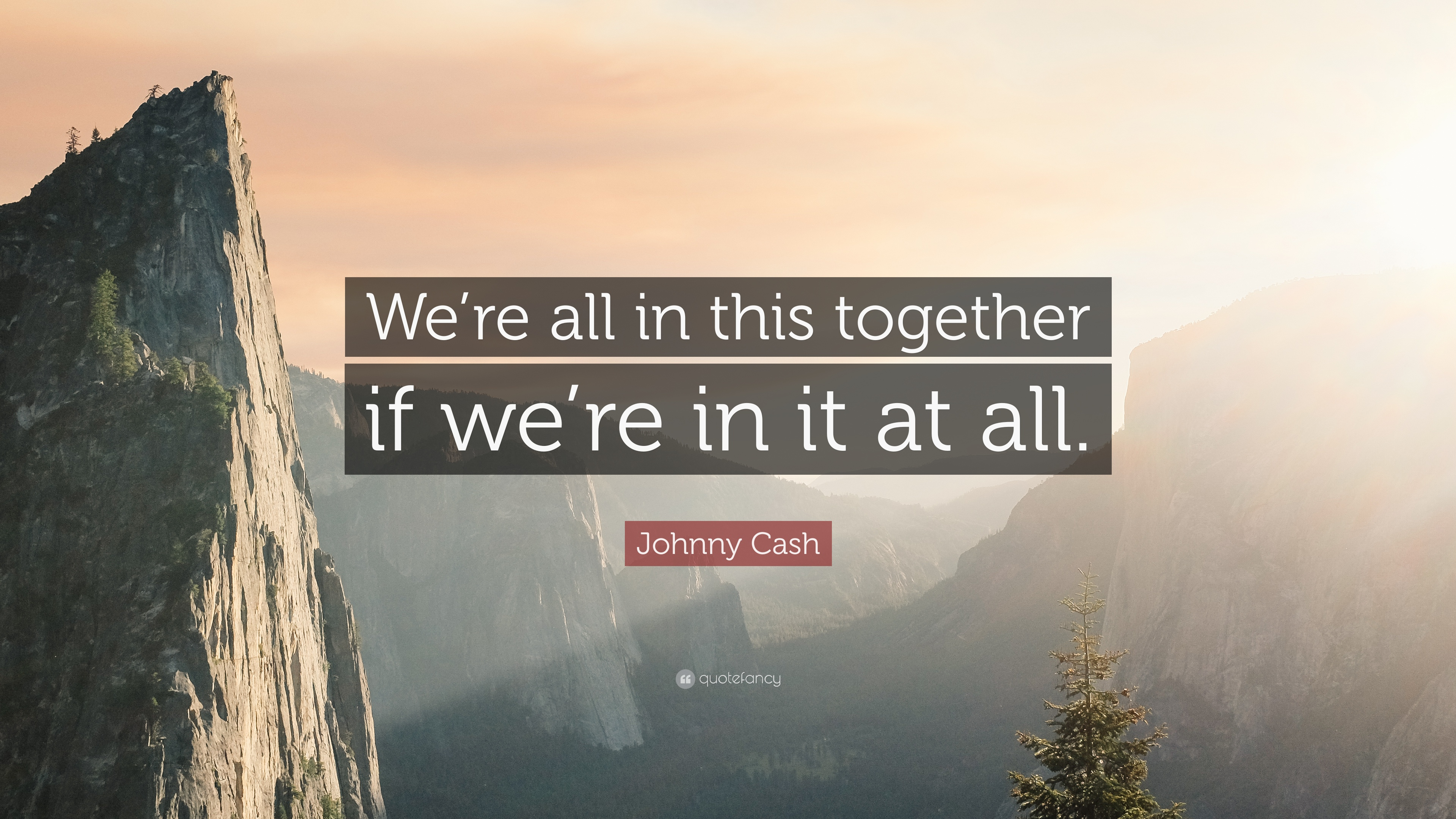 Johnny Cash Quote Were All In This Together If Were In It At All