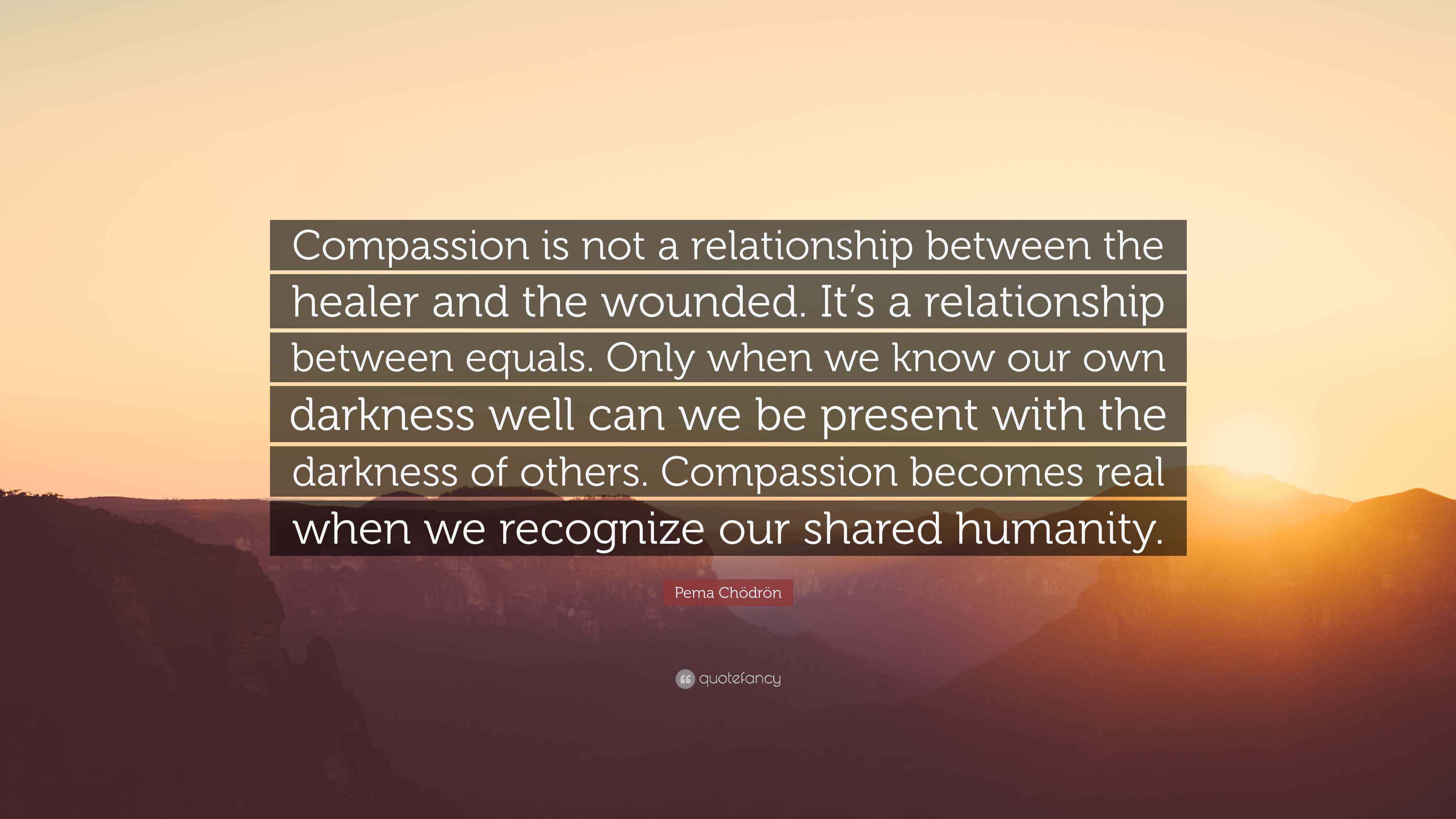 Pema Chödrön Quote Compassion Is Not A Relationship Between The