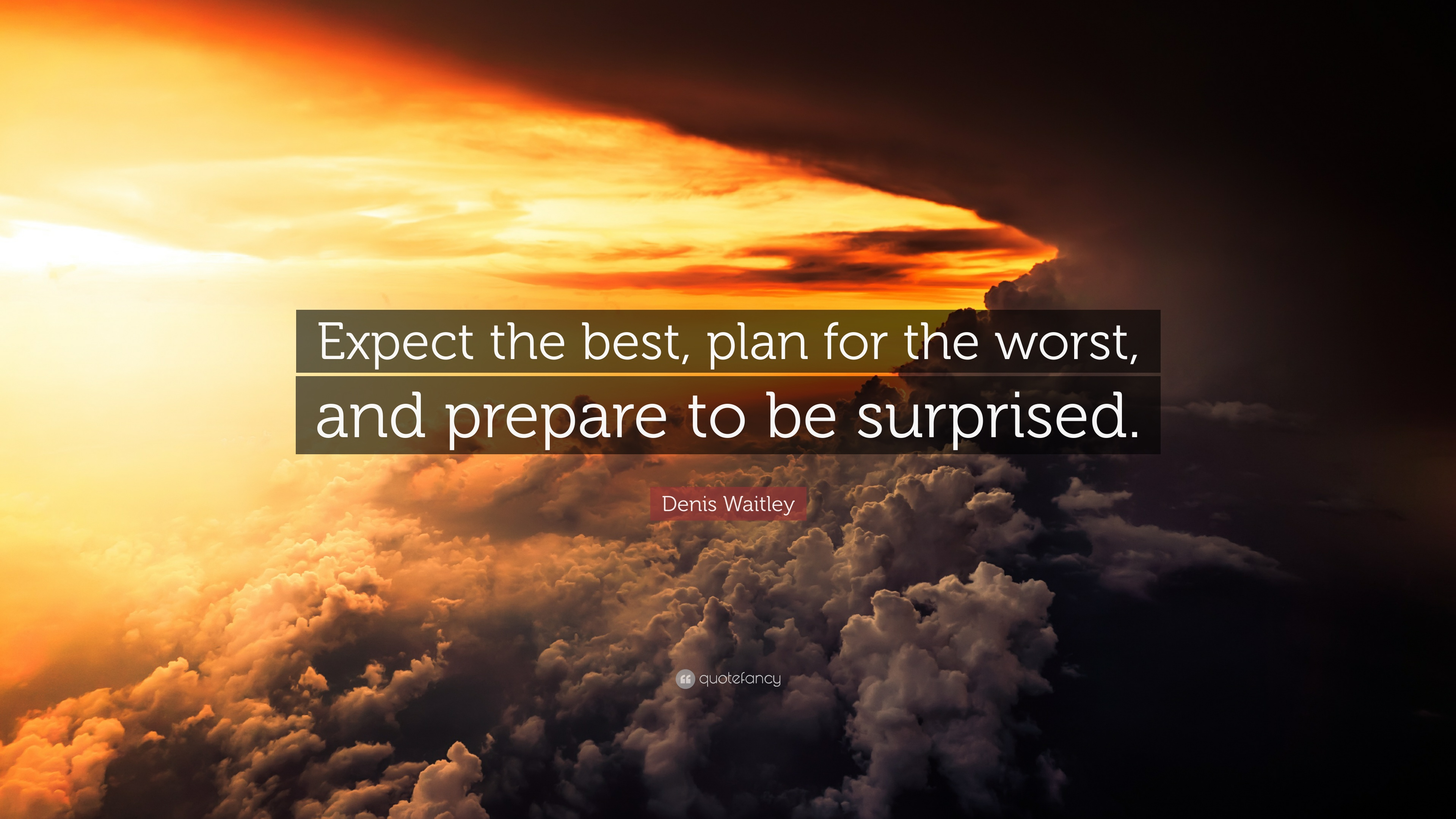 """Denis Waitley Quote: """"Expect The Best, Plan For The Worst"""