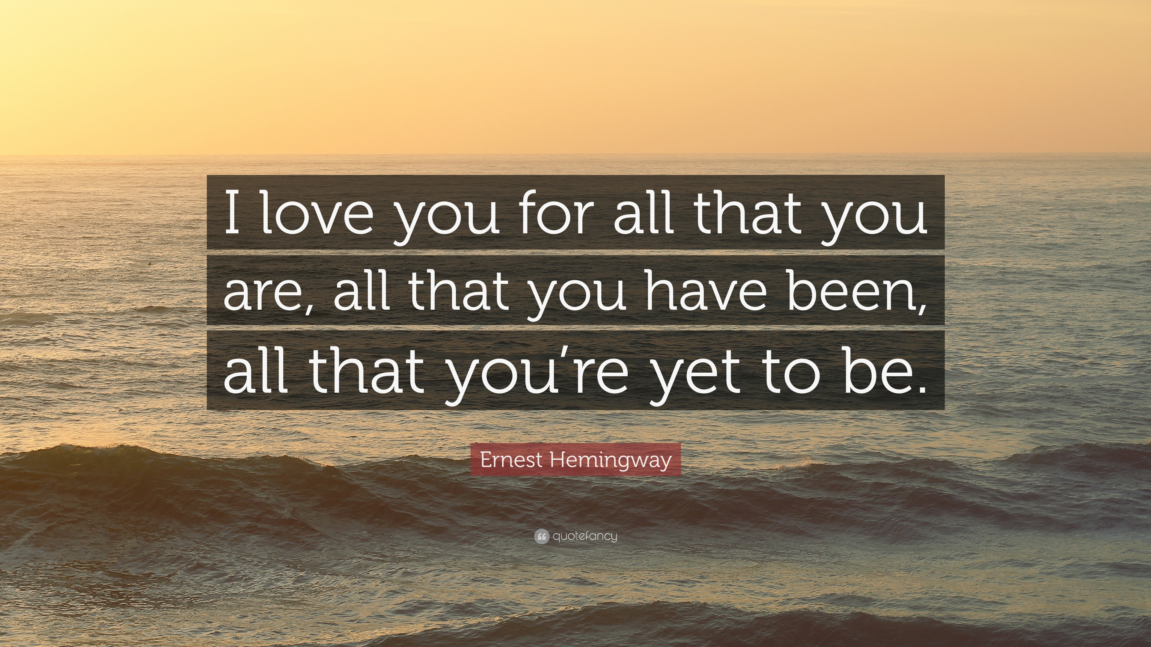 "The Love I Have For You Quotes Ernest Hemingway Quote ""I Love You For All That You Are All That"