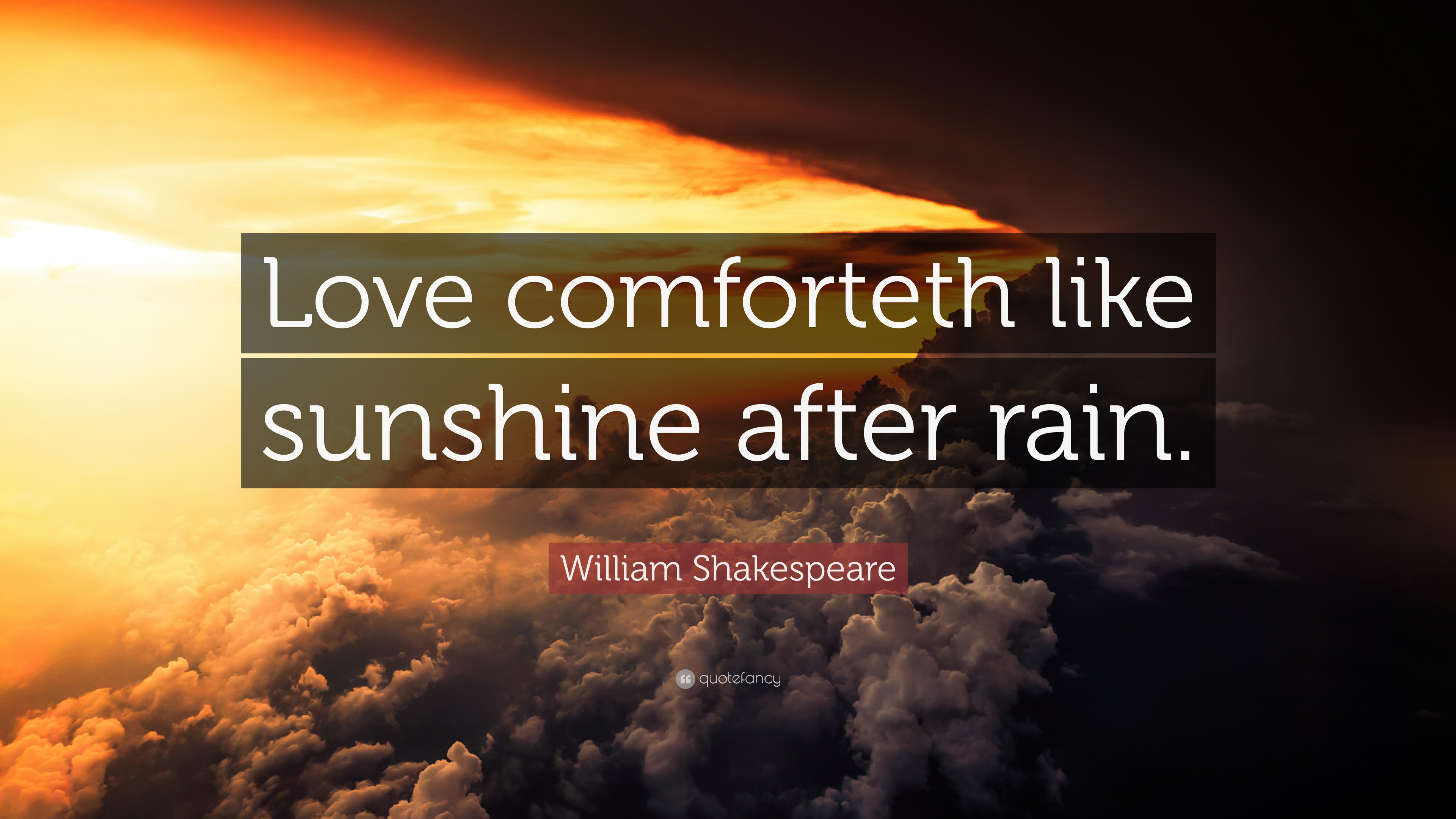 William Shakespeare Quote Love Comforteth Like Sunshine After Rain