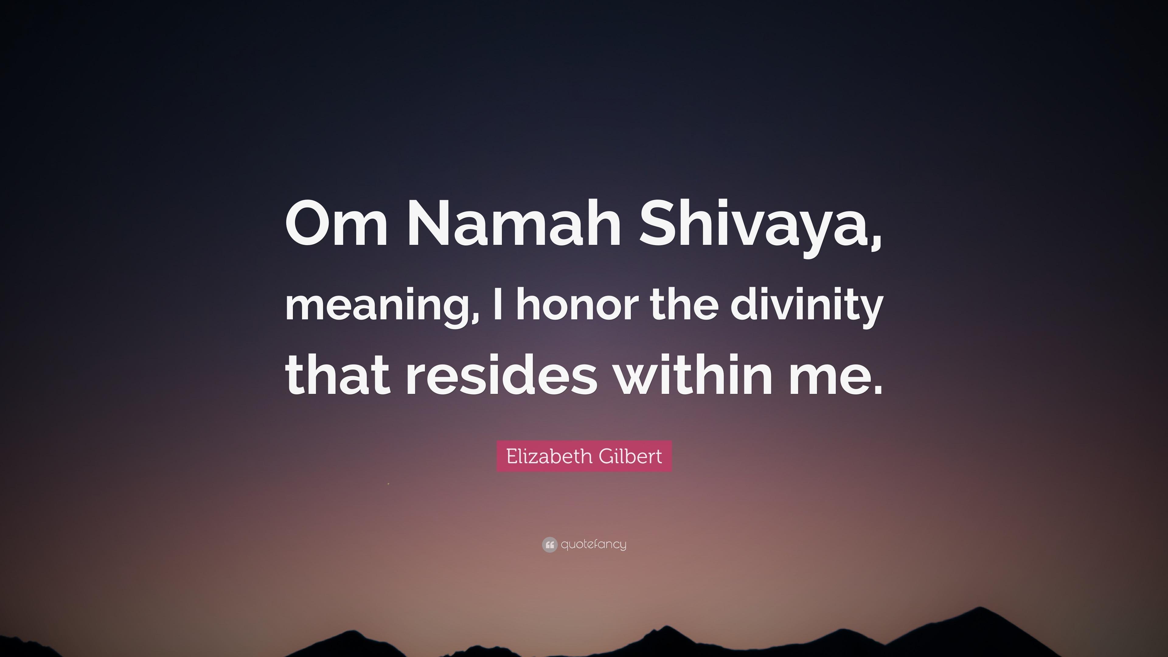 "Elizabeth Gilbert Quote: ""Om Namah Shivaya, meaning, I ..."