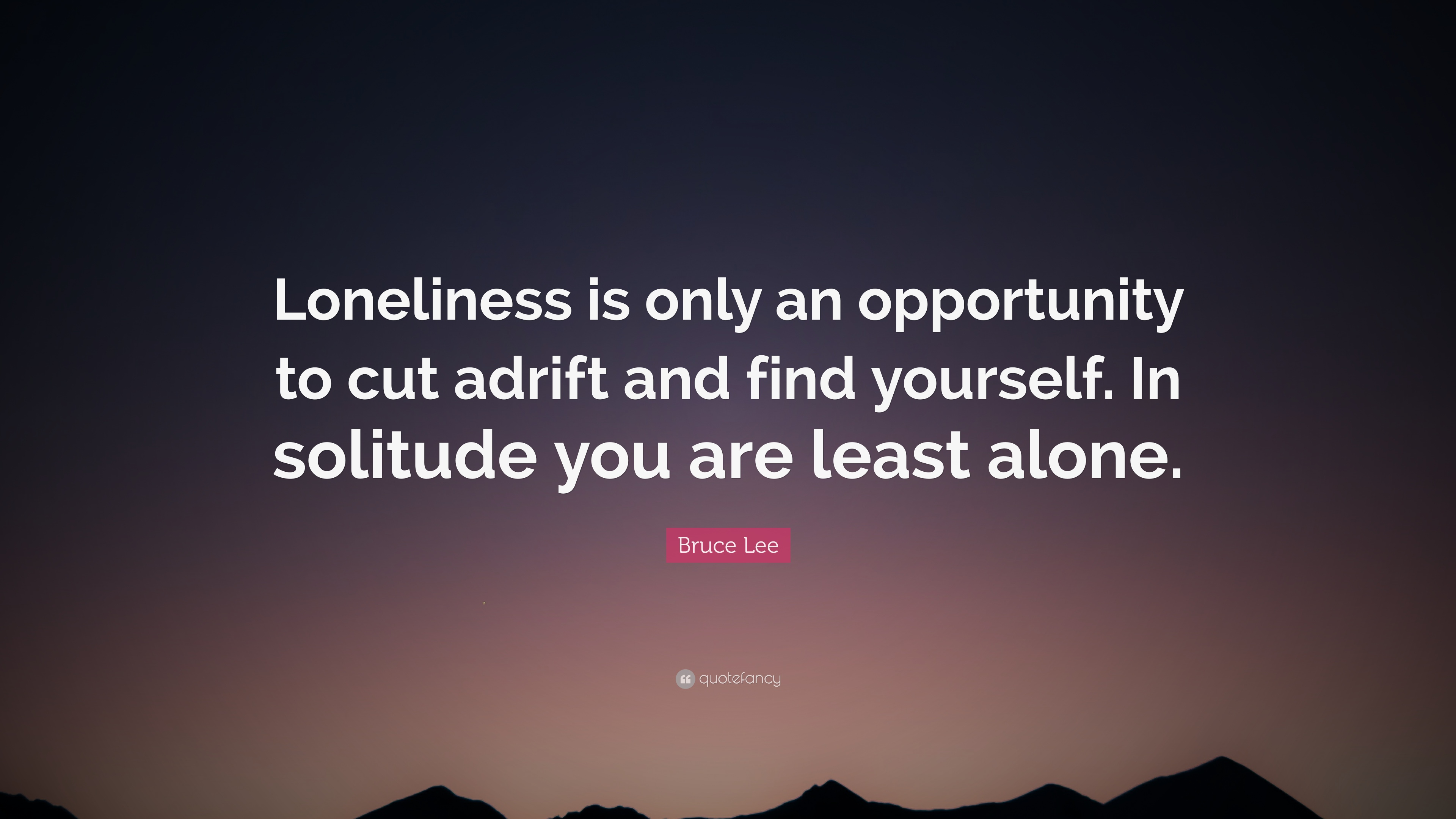 "Bruce Lee Quote: ""Loneliness is only an opportunity to cut ..."