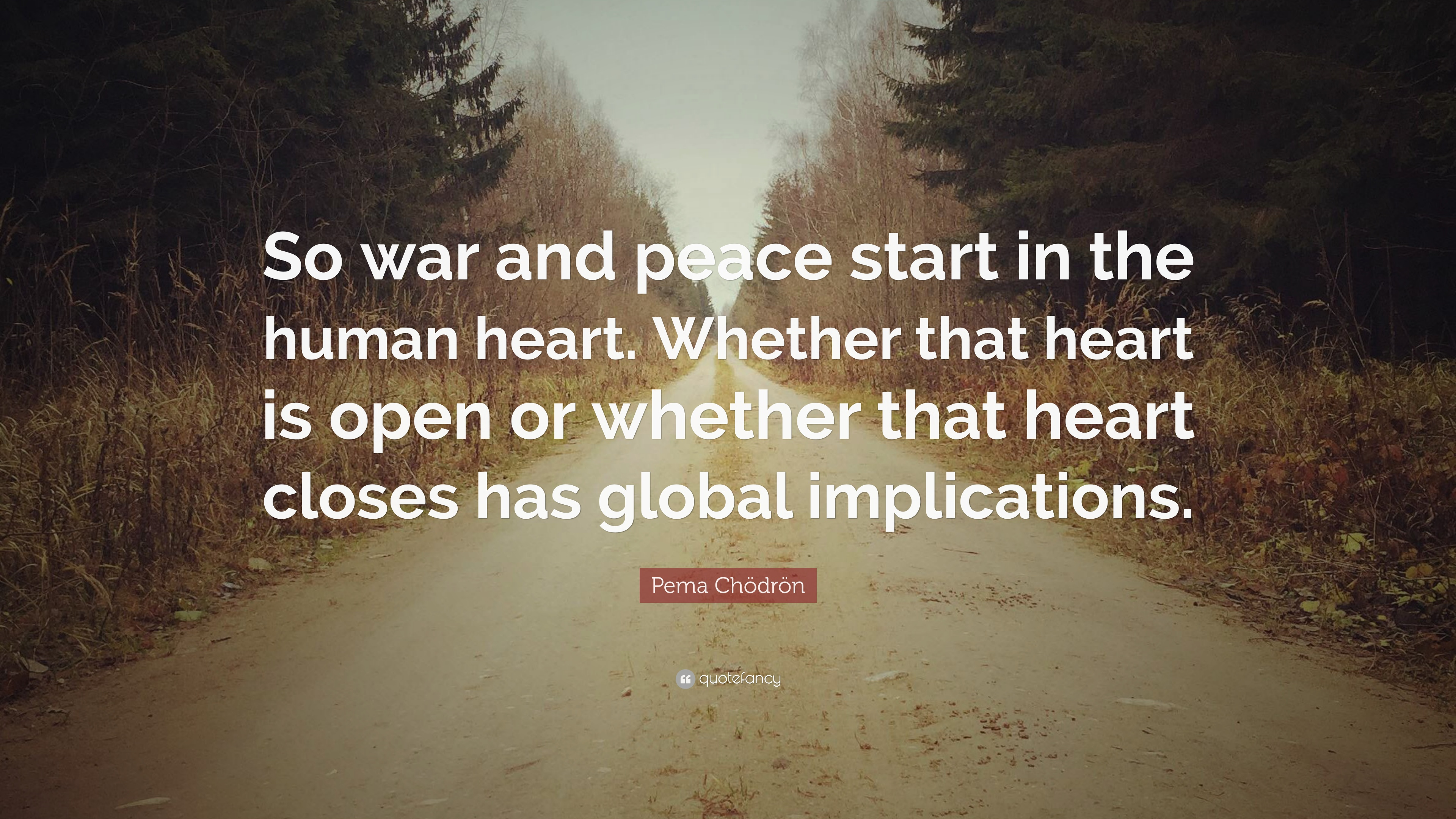 Pema Chdrn Quote So War And Peace Start In The Human Heart