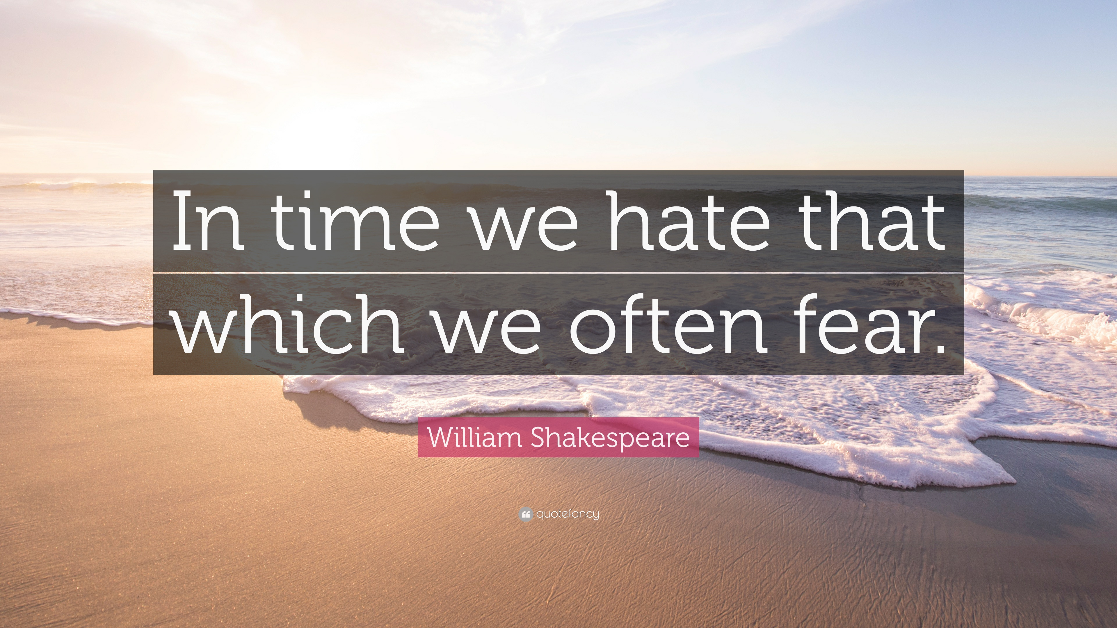 William Shakespeare Quote In Time We Hate That Which We Often Fear