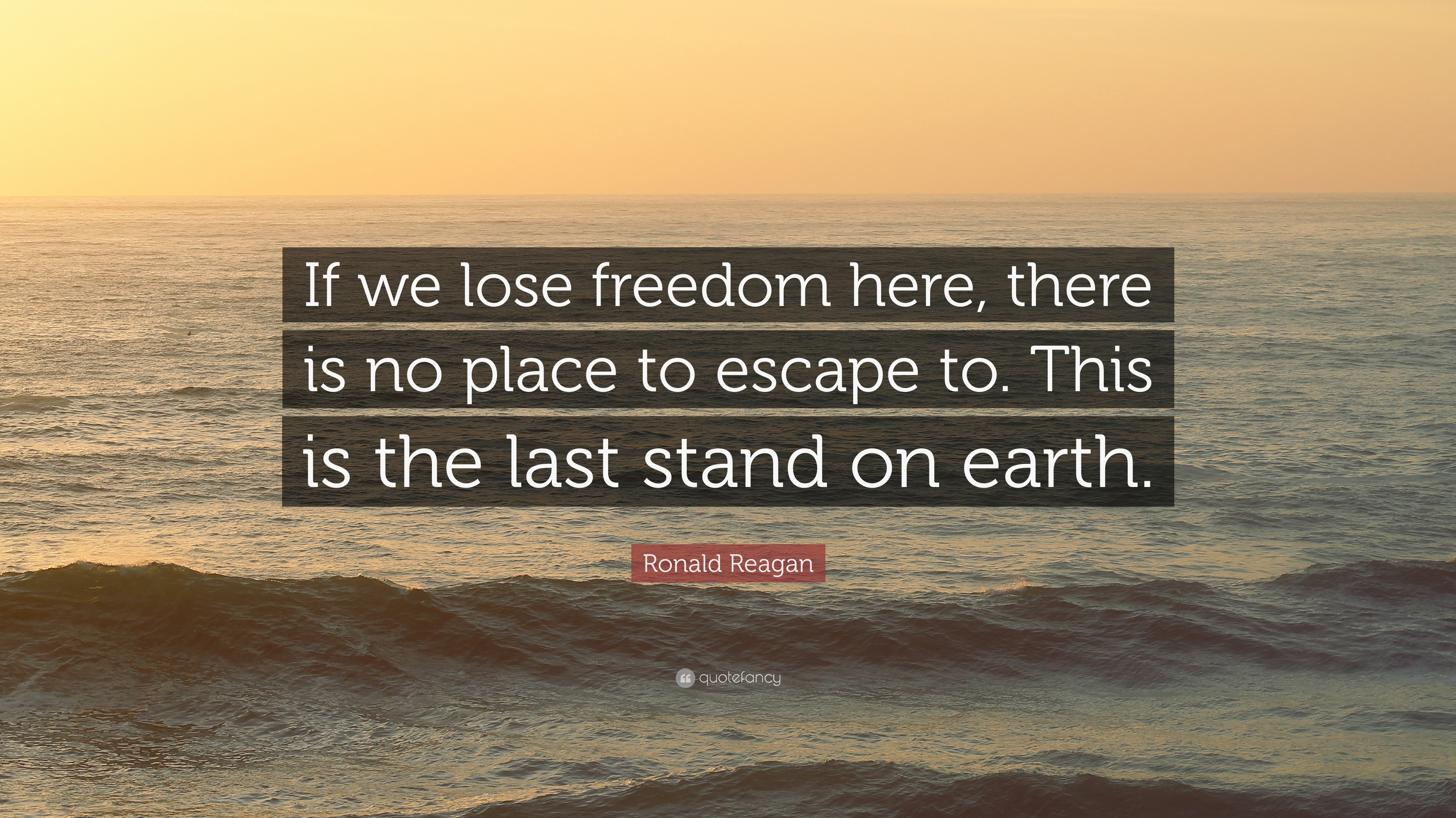 """Ronald Reagan Quote: """"If we lose freedom here, there is no"""