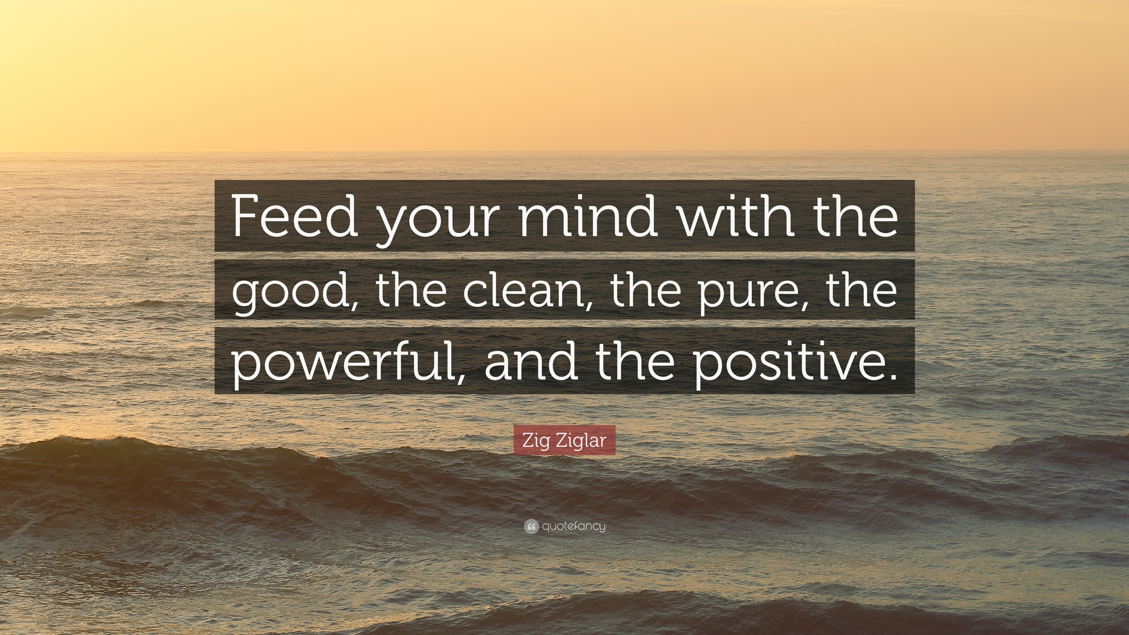 """Positive Quotes: Zig Ziglar Quote: """"Feed Your Mind With The Good, The Clean"""