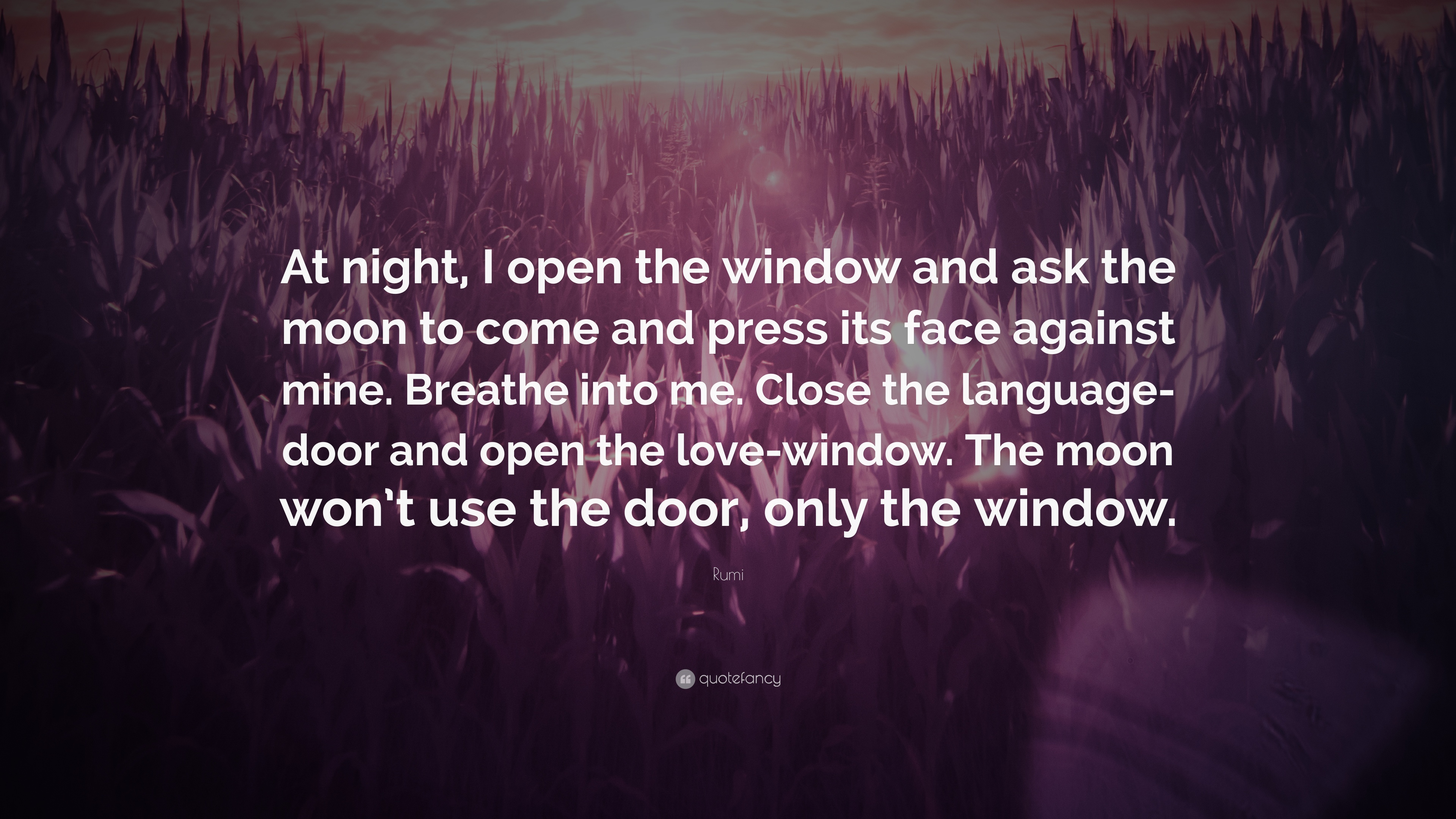 Rumi Quote \u201cAt night I open the window and ask the moon to & Rumi Quote: \u201cAt night I open the window and ask the moon to come ...