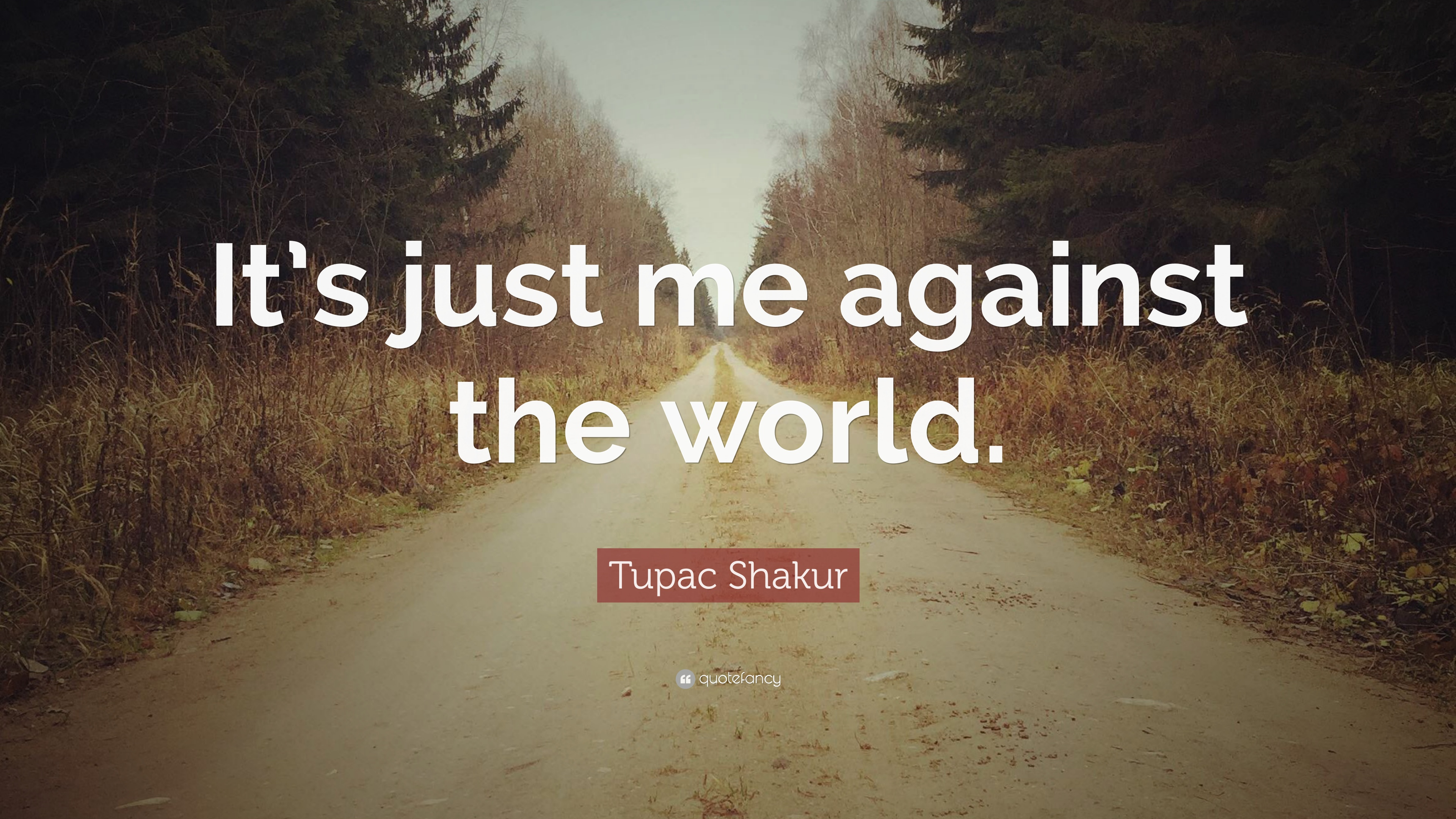 "Tupac Shakur Quote: ""It's just me against the world "" (12"