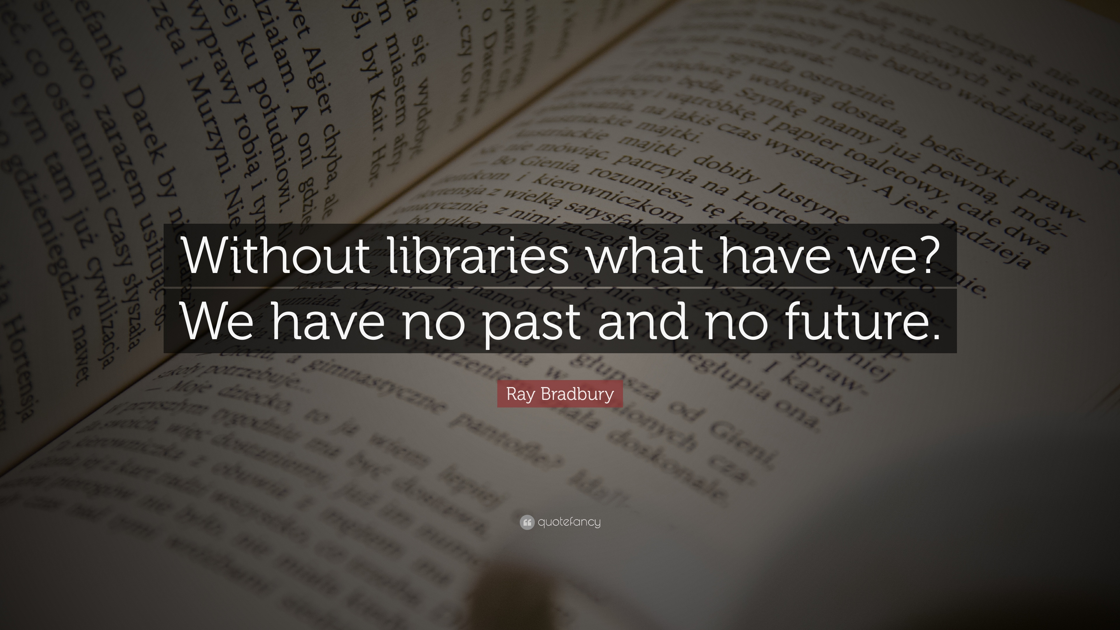 """Ray Bradbury Quote """"Without libraries what have we We have no"""