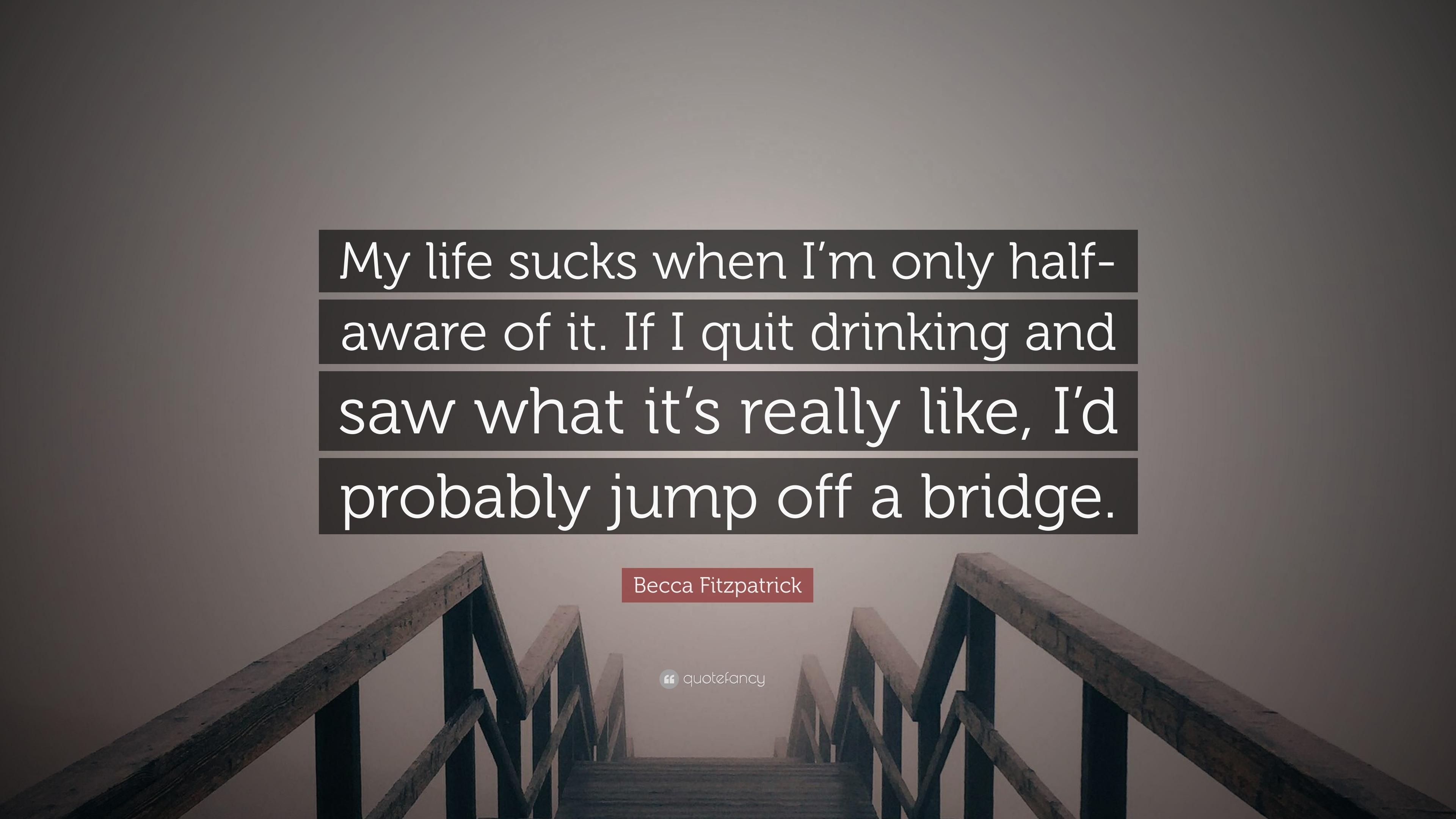 "Life Sucks Quotes Becca Fitzpatrick Quote ""My Life Sucks When I'm Only Halfaware"
