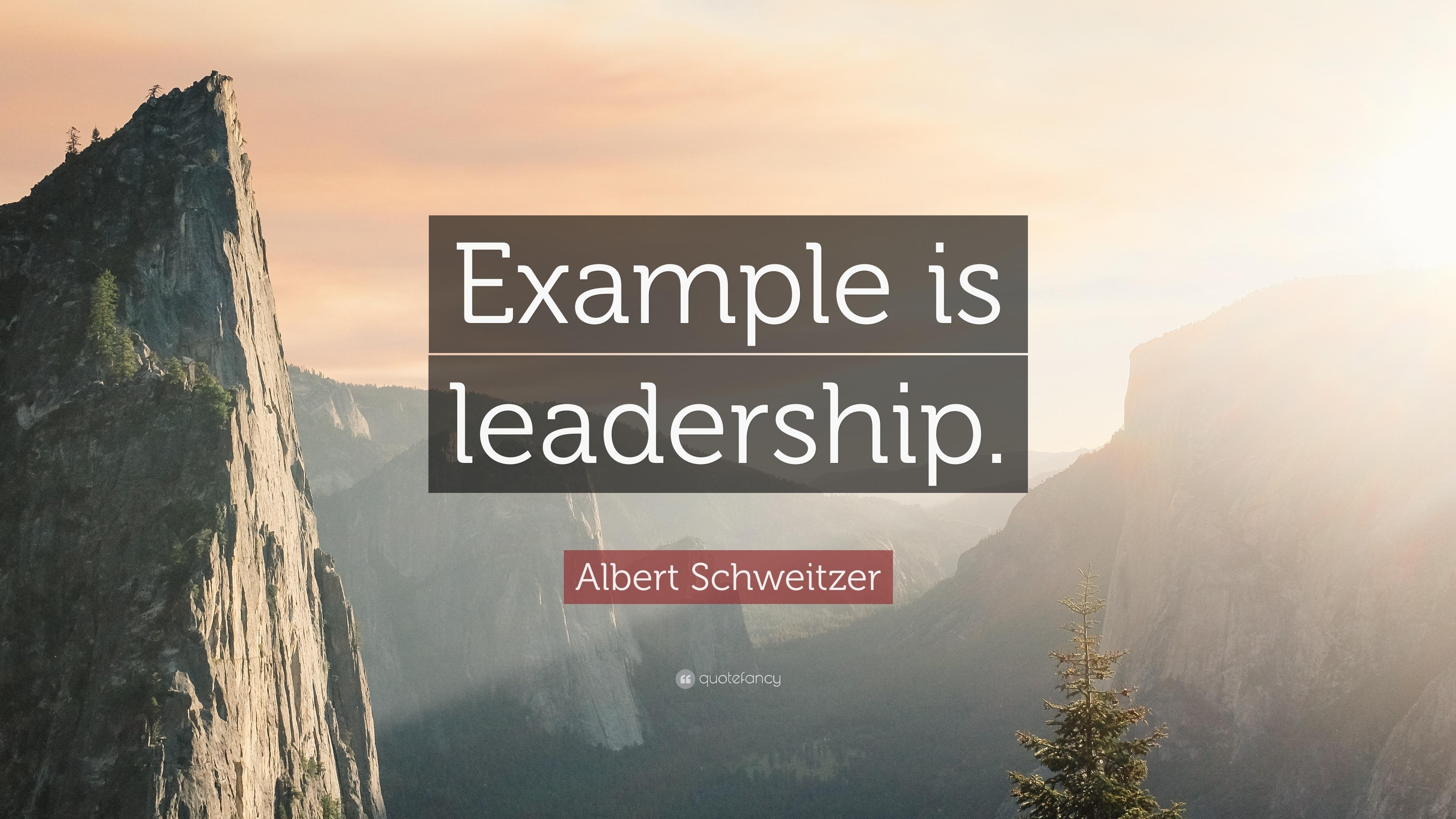 albert schweitzer quote example is leadership  albert schweitzer quote example is leadership