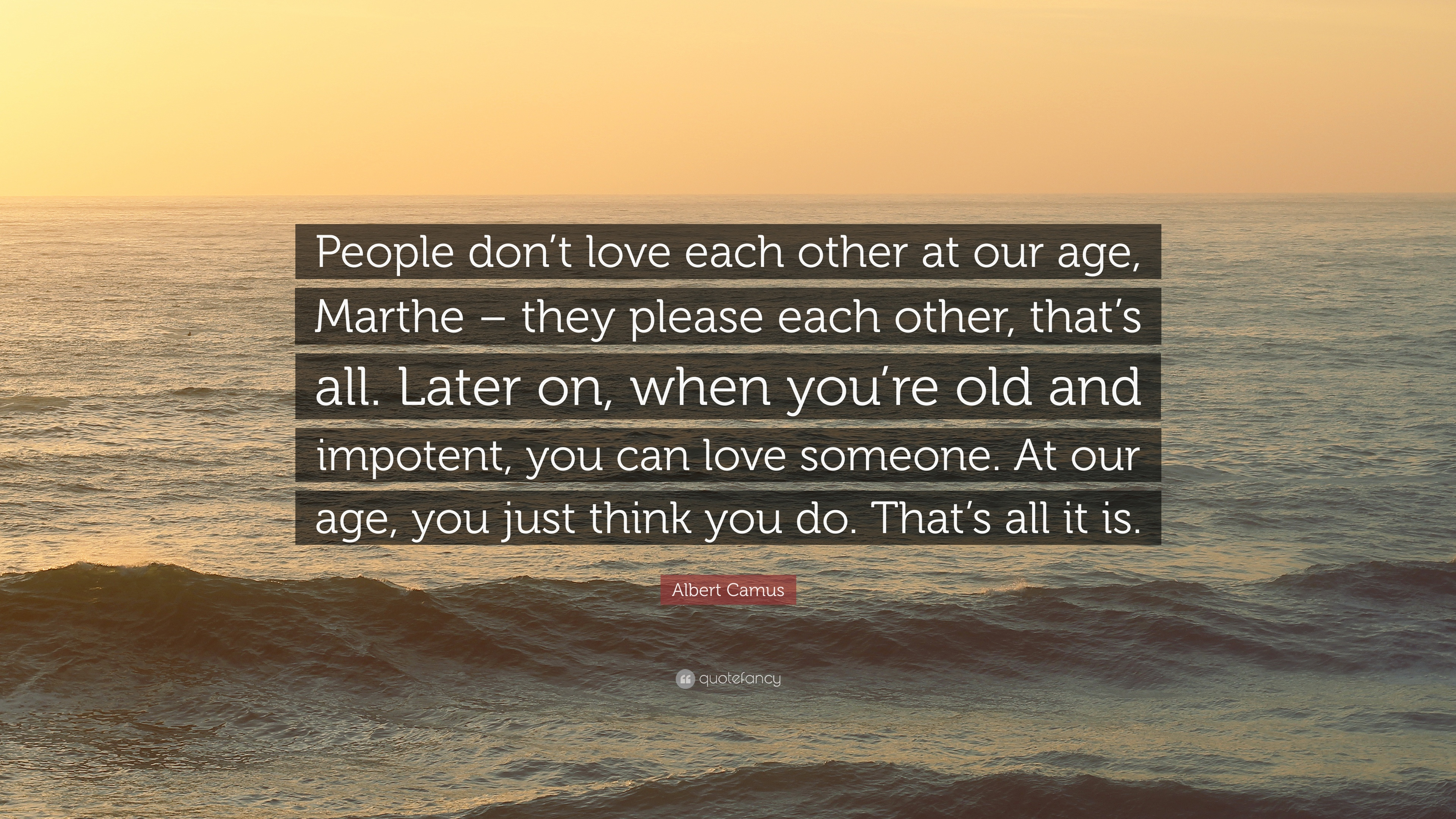 "People That Love Each Other: Albert Camus Quote: ""People Don't Love Each Other At Our"