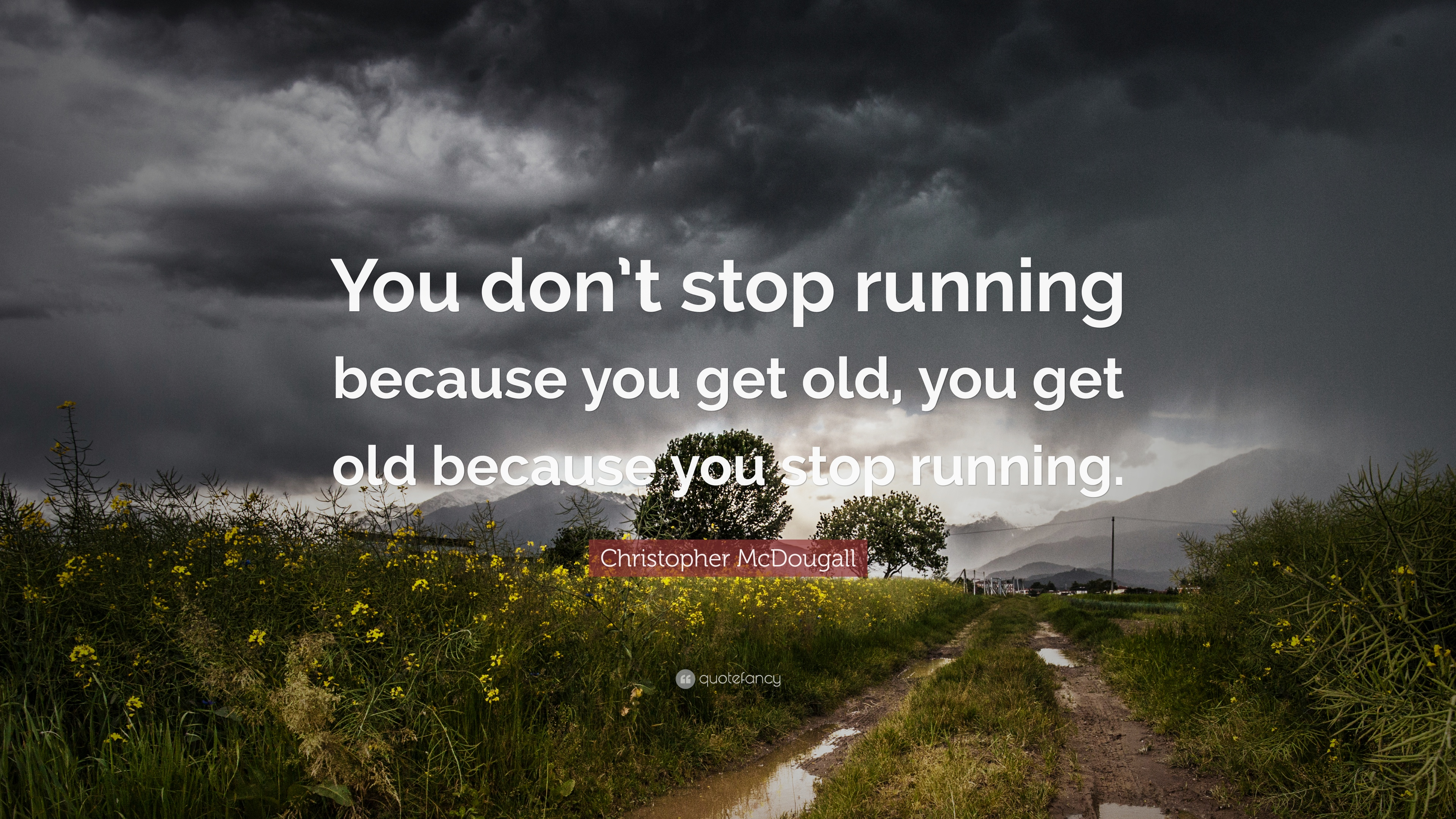 """Running Quotes 100 Wallpapers: Christopher McDougall Quote: """"You Don't Stop Running"""