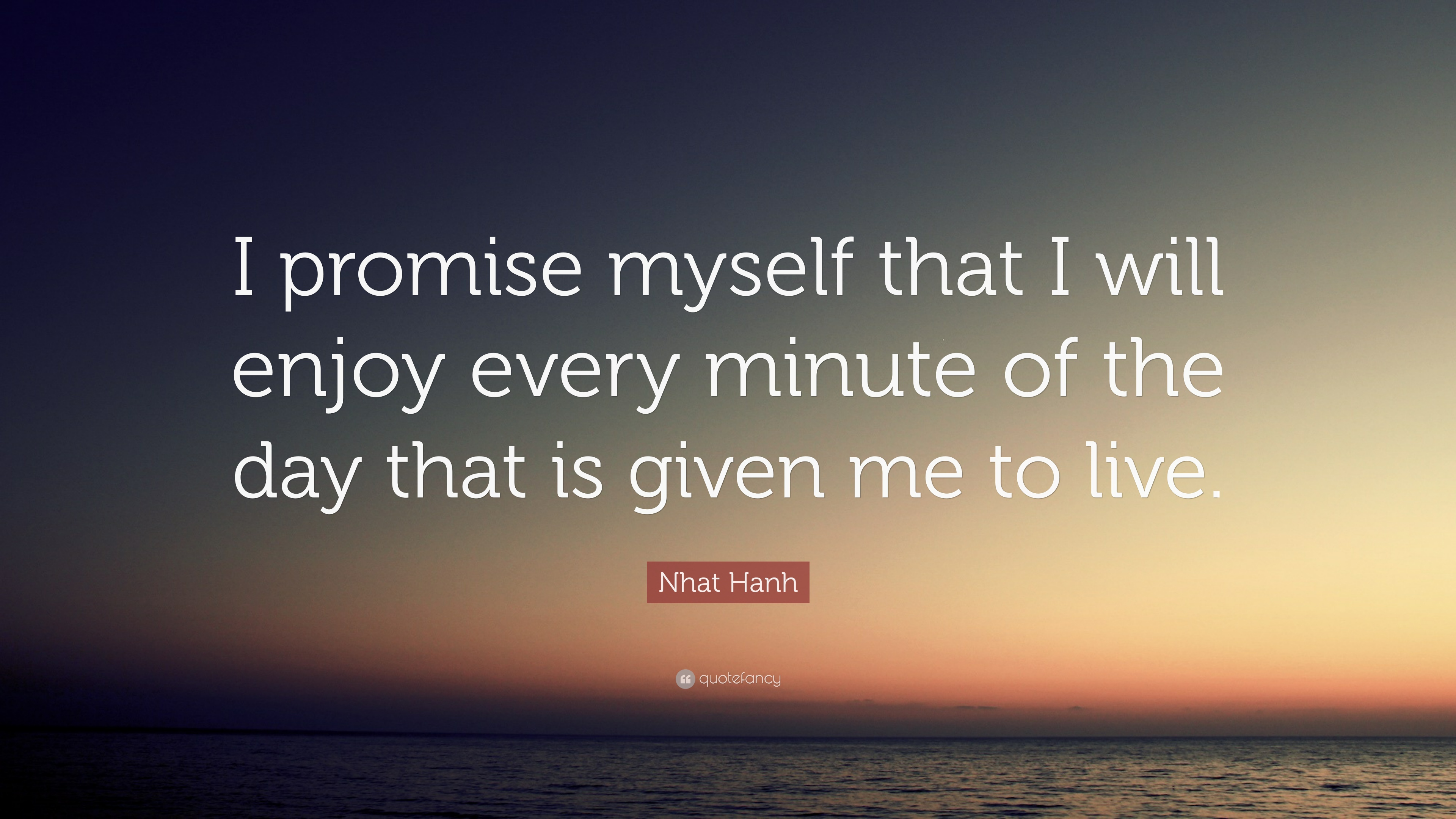 """I Promise Quotes Nhat Hanh Quote """"I Promise Myself That I Will Enjoy Every Minute"""
