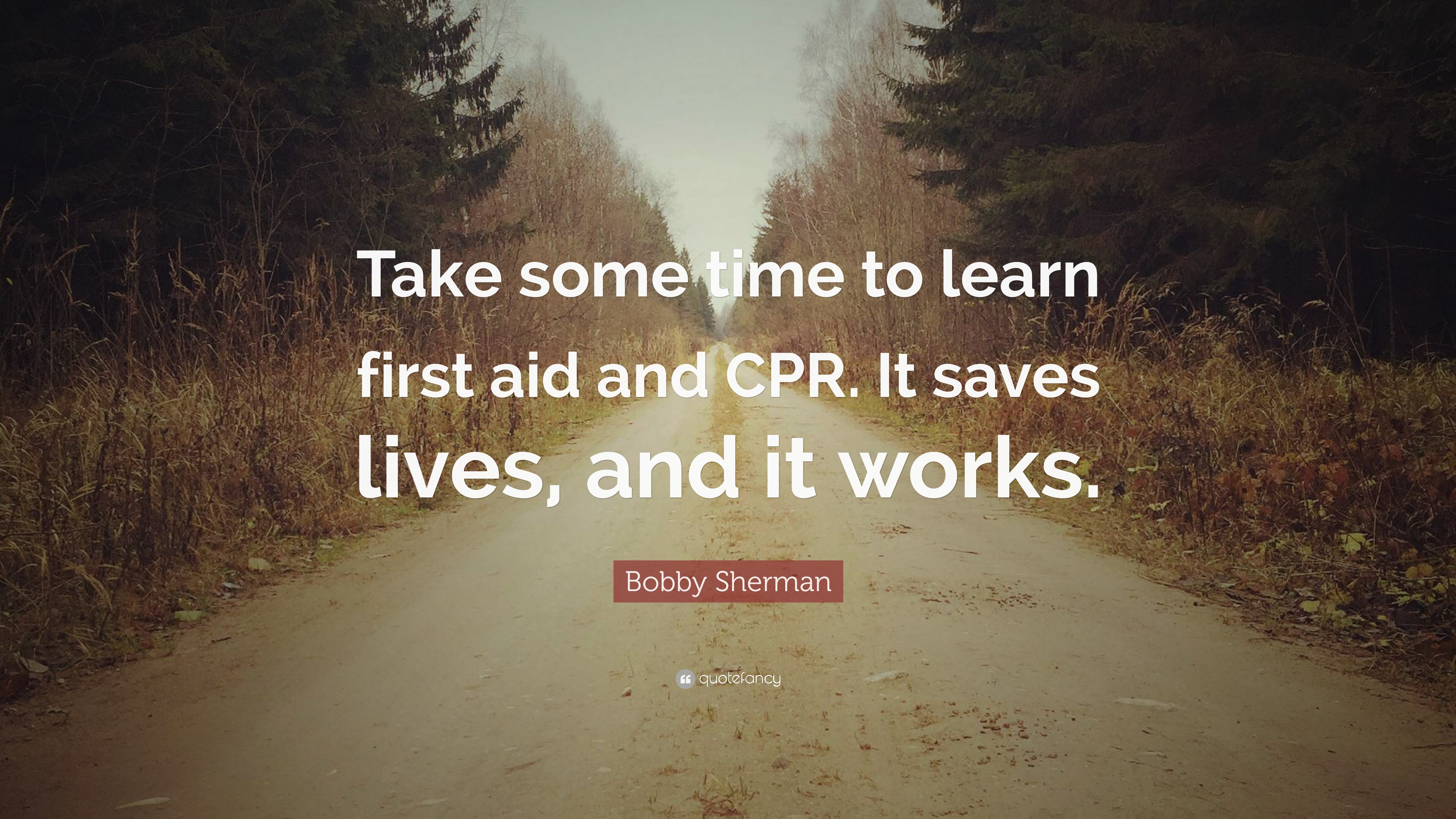 """Prayers For Bobby Quotes: Bobby Sherman Quote: """"Take Some Time To Learn First Aid"""