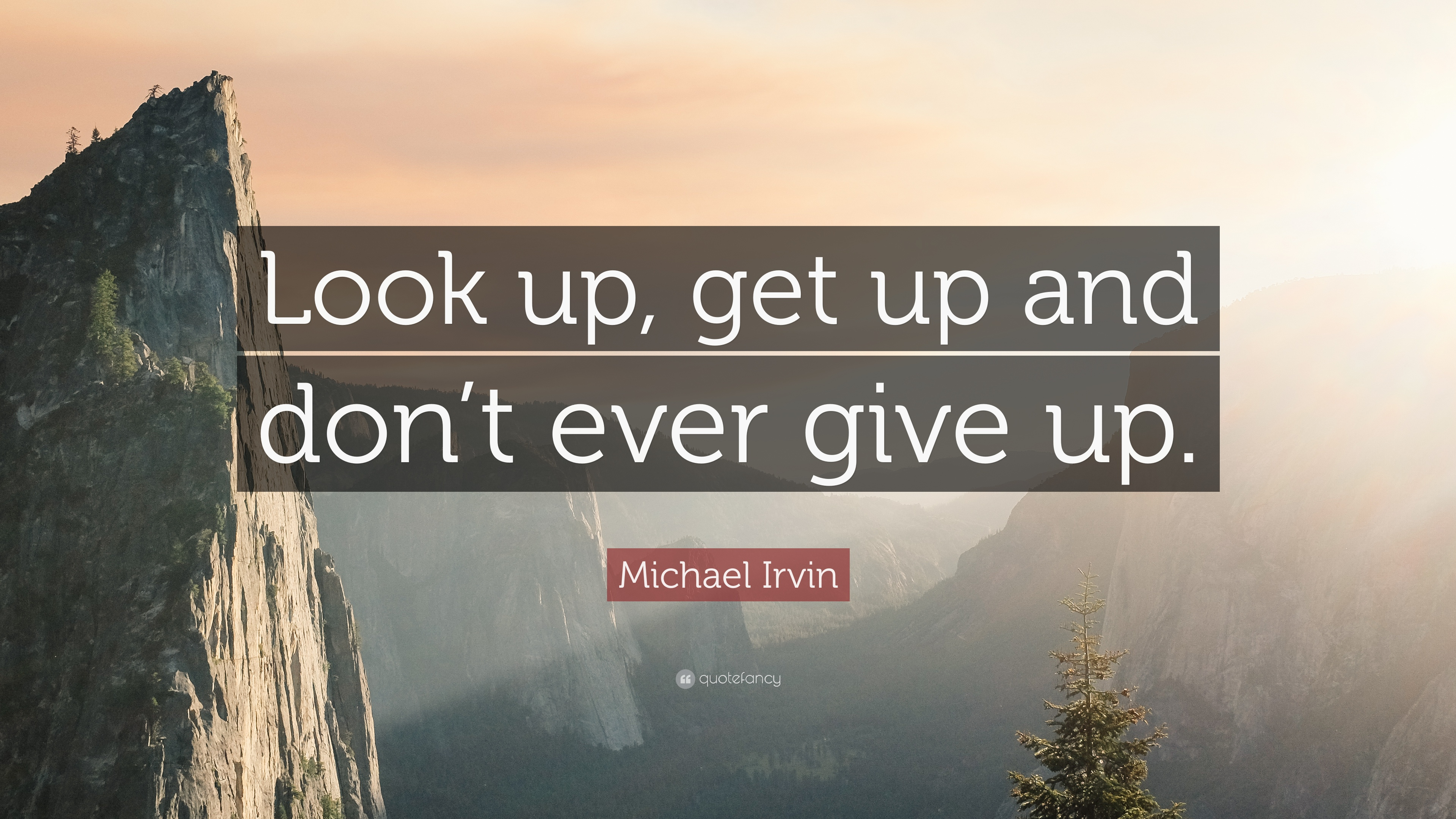 "Look Up Quotes: Michael Irvin Quote: ""Look Up, Get Up And Don't Ever Give"