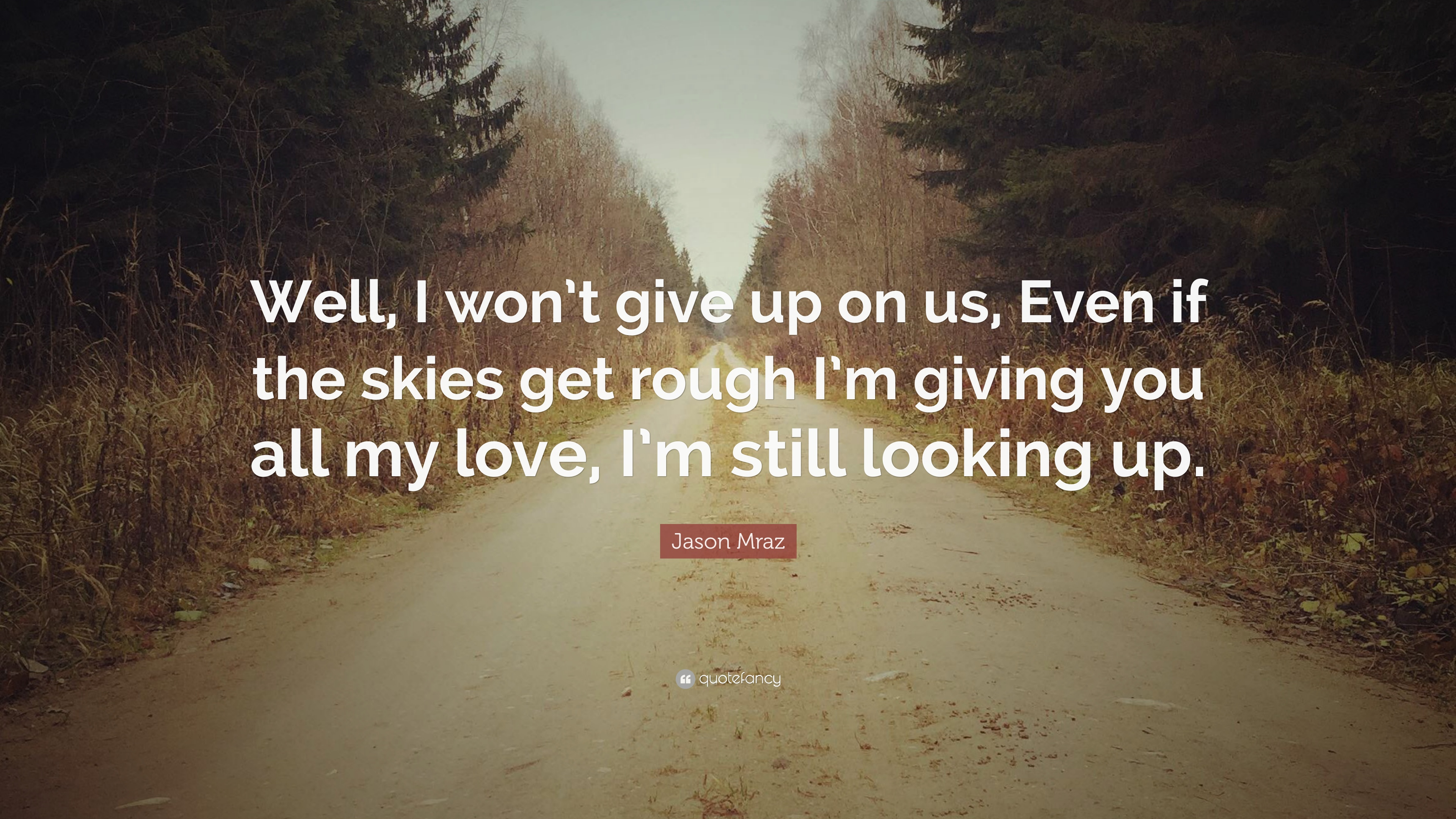 Jason Mraz Quote Well I Wont Give Up On Us Even If The Skies