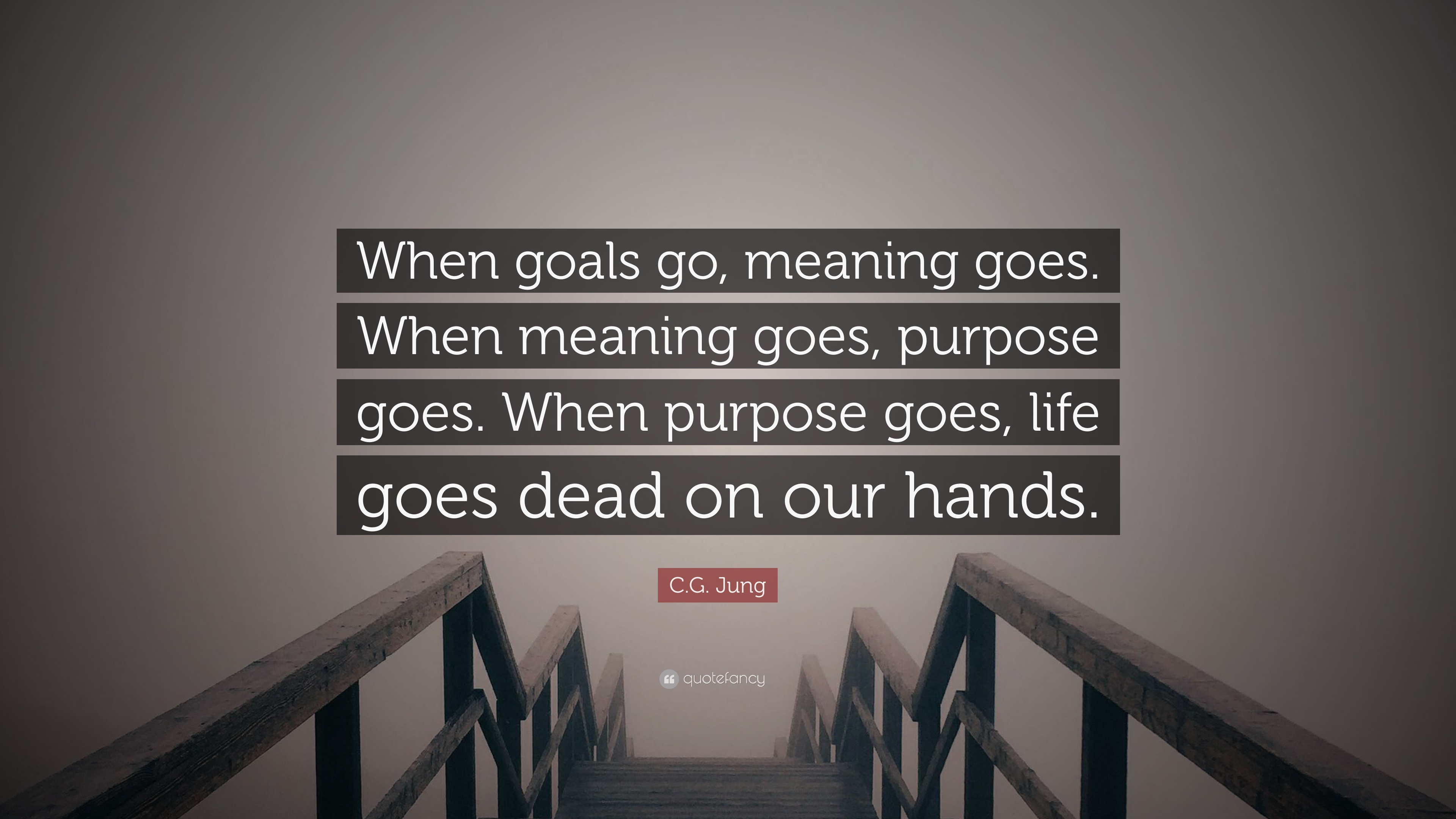 """C G  Jung Quote: """"When goals go, meaning goes  When meaning"""
