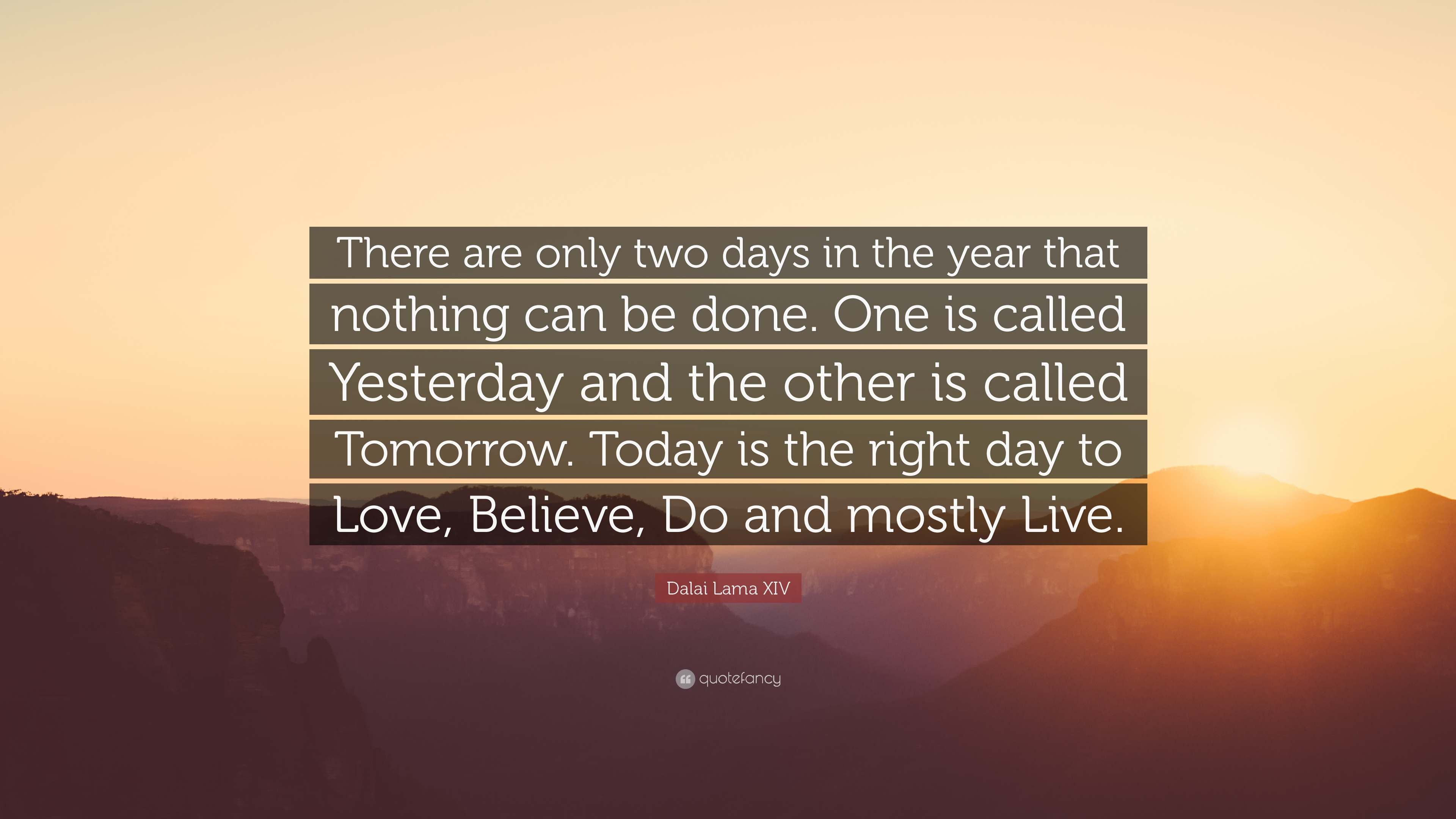 """Dalai Lama XIV Quote: """"There Are Only Two Days In The Year"""