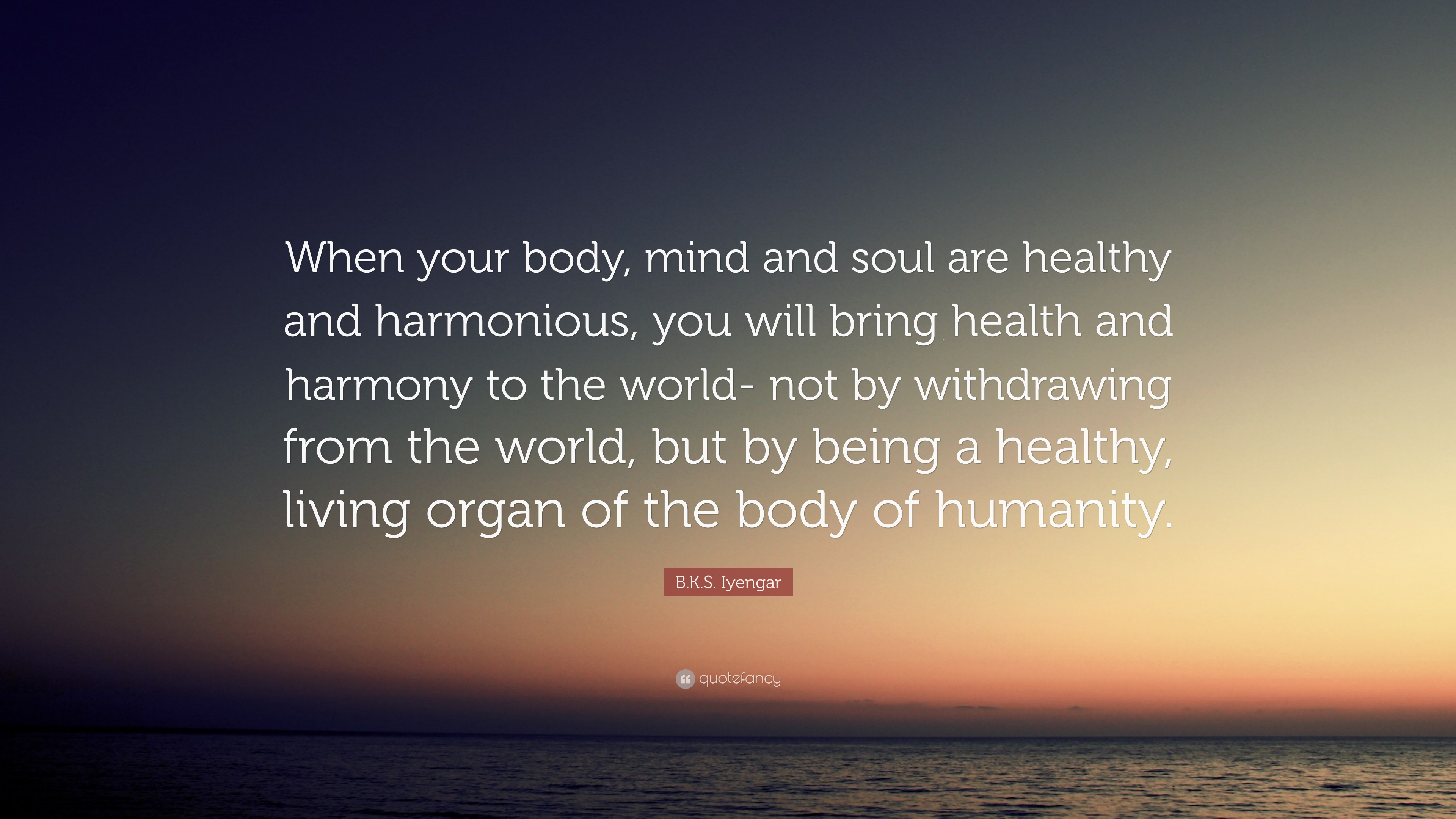 """B.K.S. Iyengar Quote: """"When Your Body, Mind And Soul Are"""
