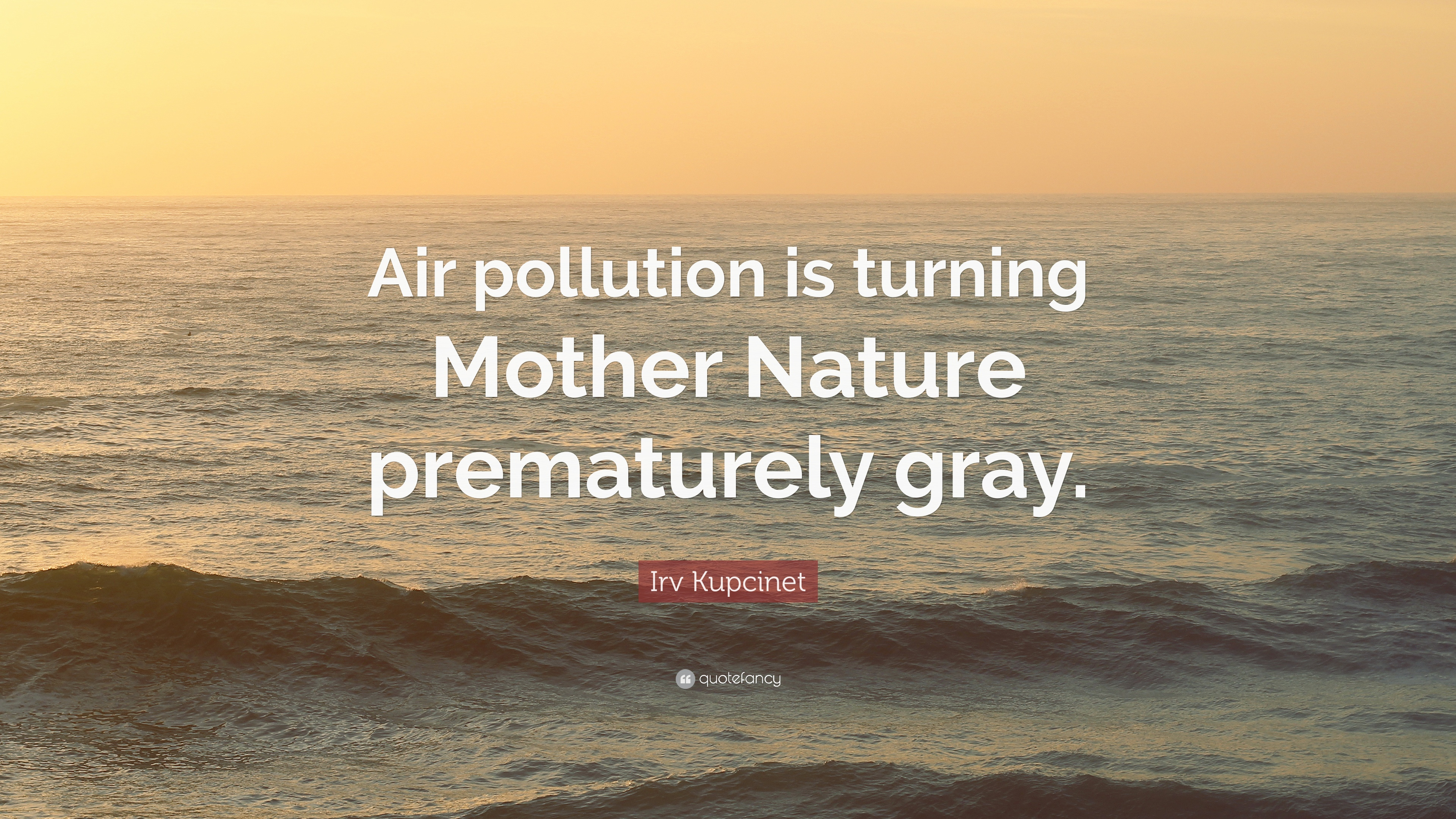 Irv Kupcinet Quote Air Pollution Is Turning Mother Nature