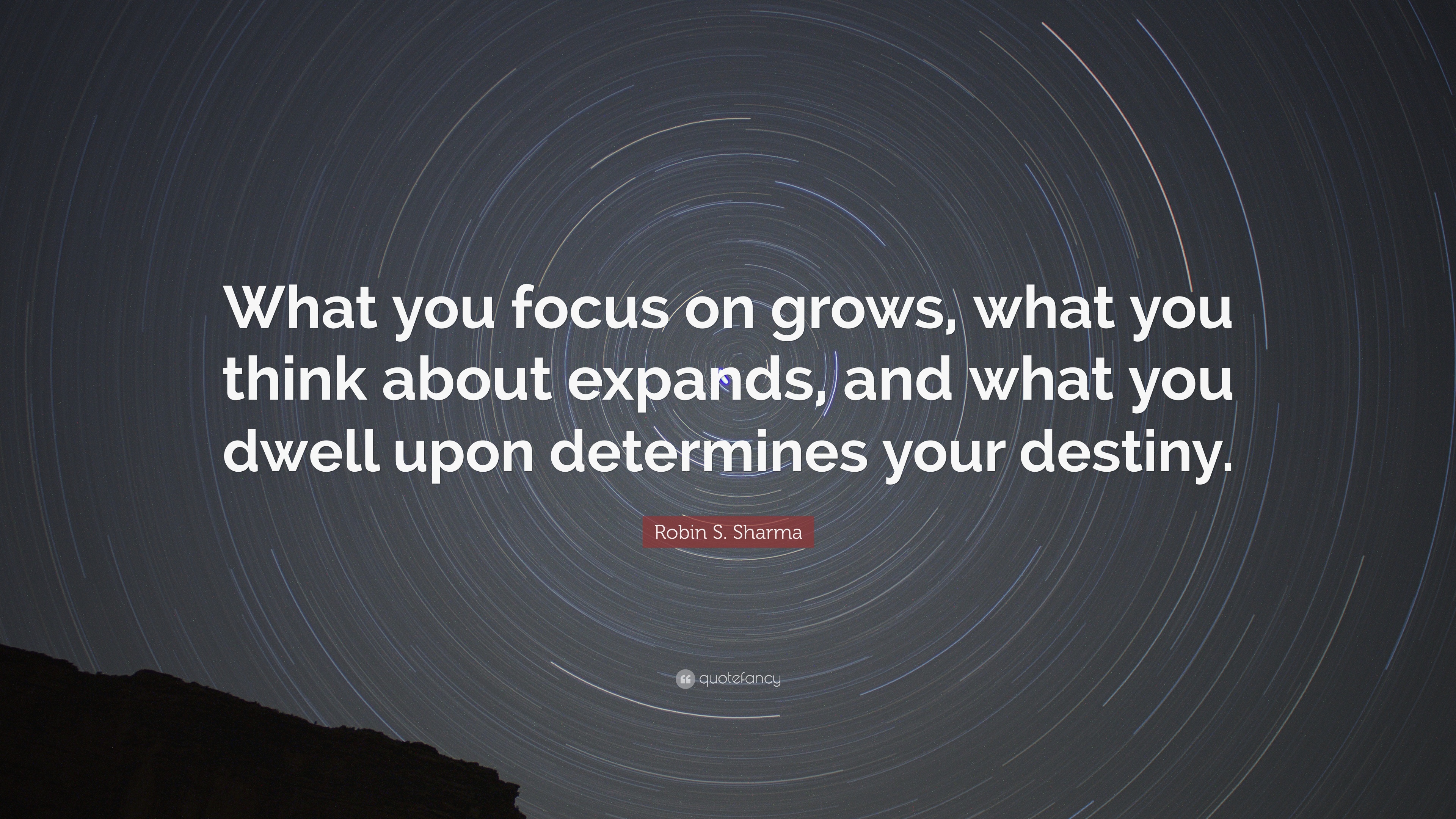 robin s  sharma quote   u201cwhat you focus on grows  what you think about expands  and what you